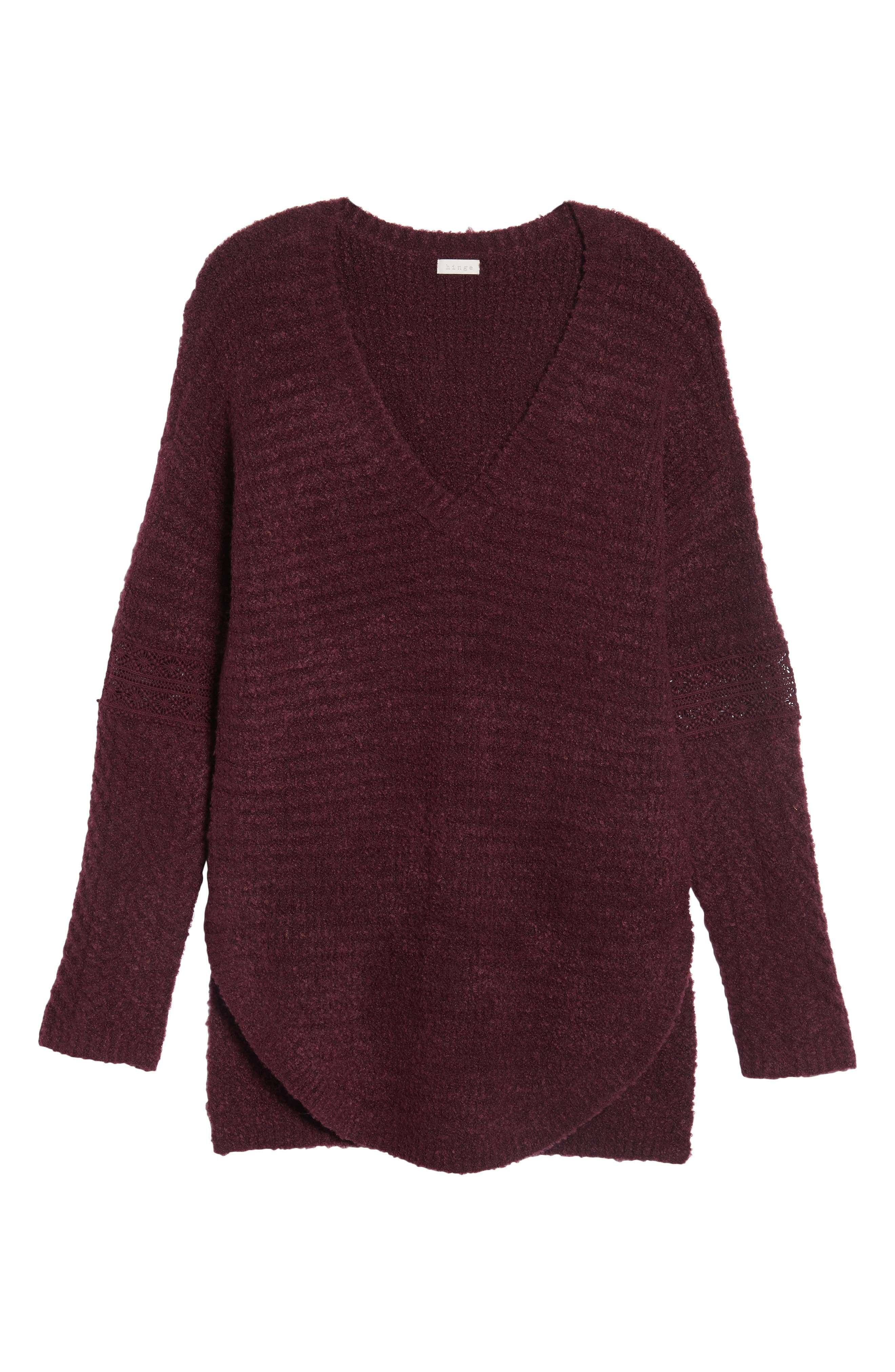 Lace Inset V-Neck Sweater,                             Alternate thumbnail 8, color,