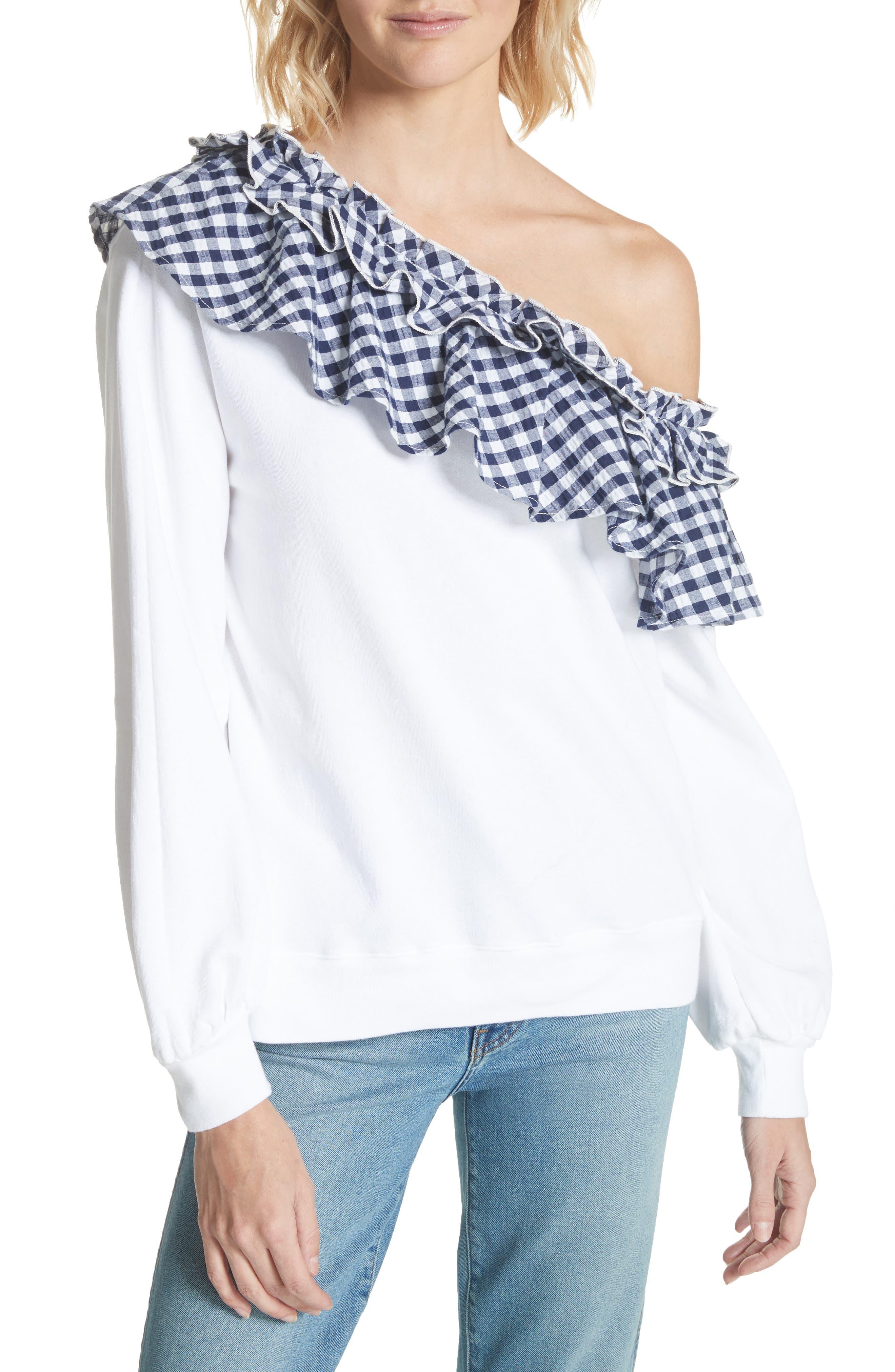Gingham Ruffle One-Shoulder Sweatshirt,                             Main thumbnail 1, color,                             100