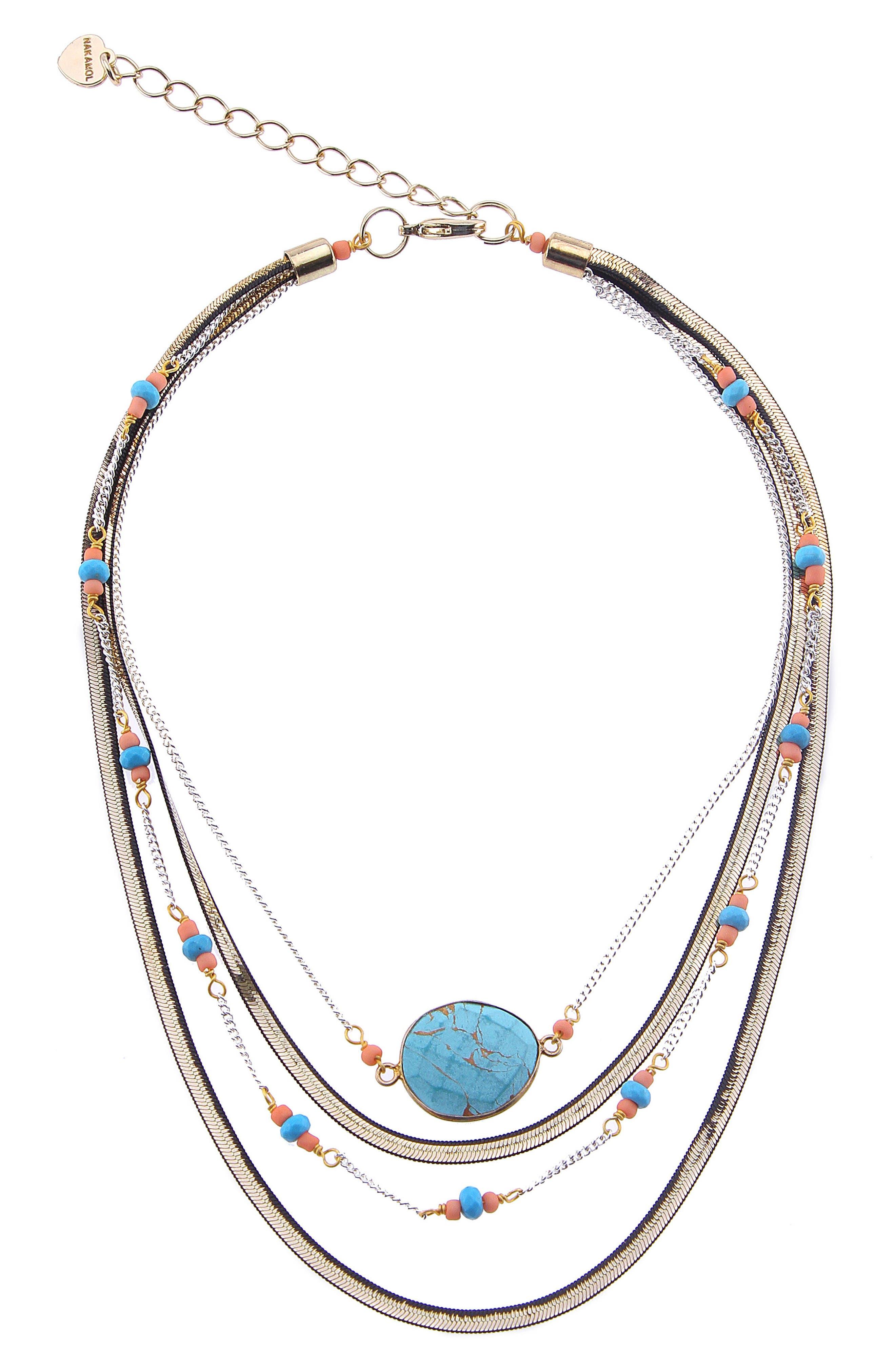 Short Multilayer Howlite & Agate Necklace,                         Main,                         color,