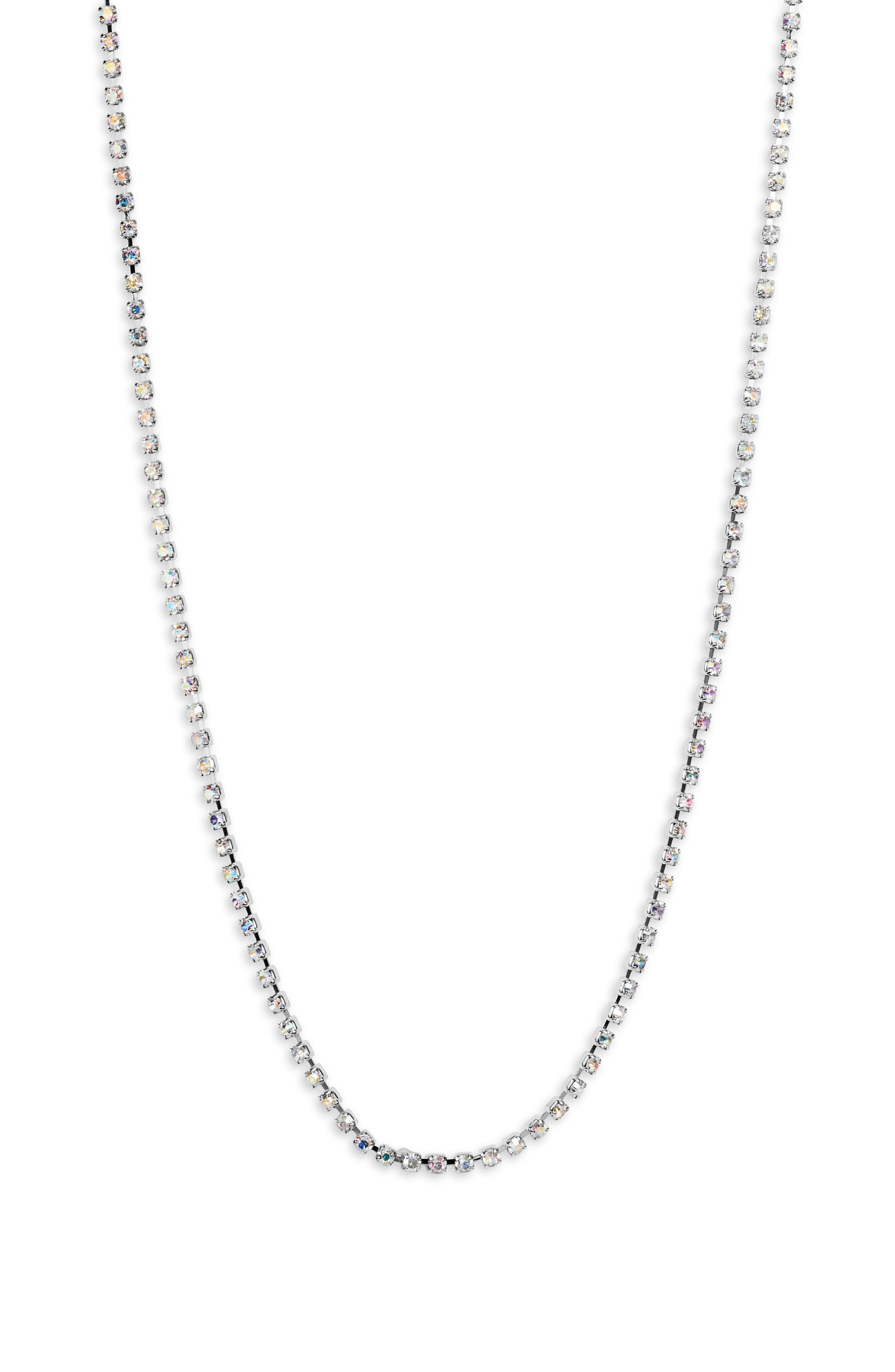 SOMETHING NAVY Rhinestone Necklace, Main, color, CLEAR- RHODIUM