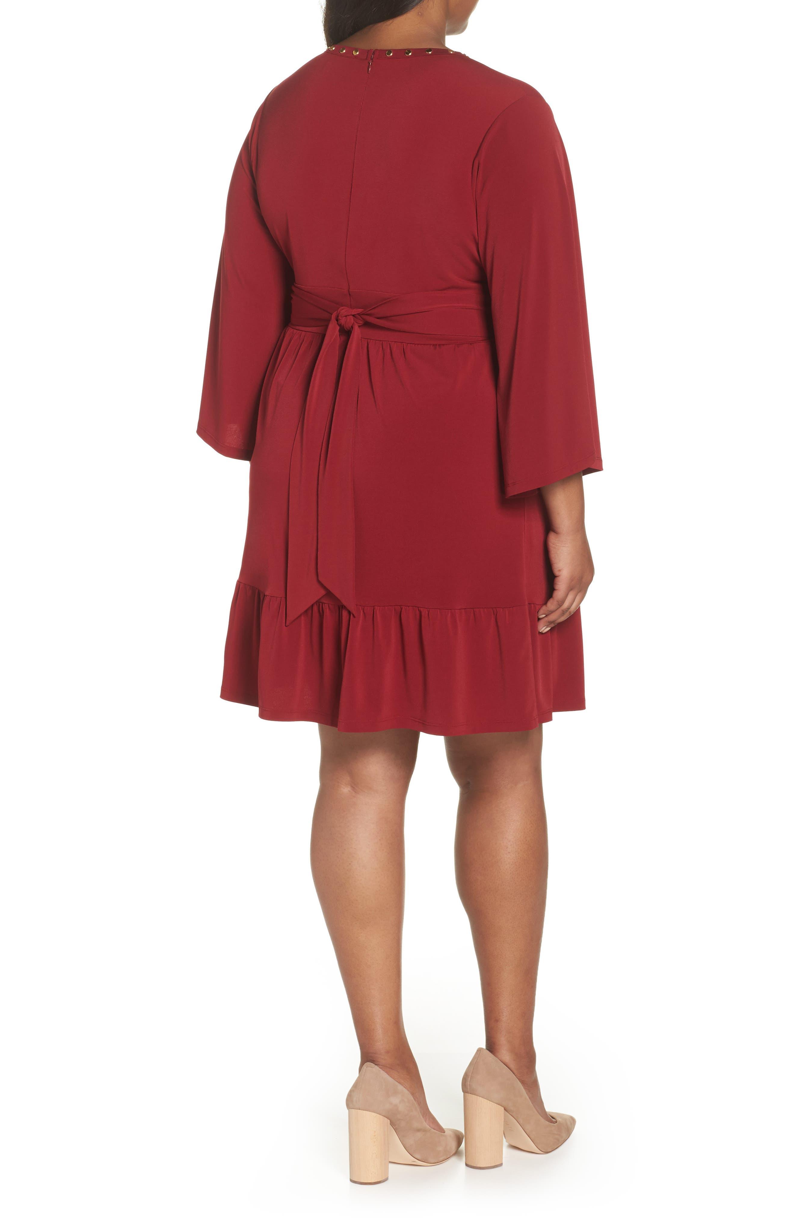 Studded V-Neck Dress,                             Alternate thumbnail 2, color,                             MAROON