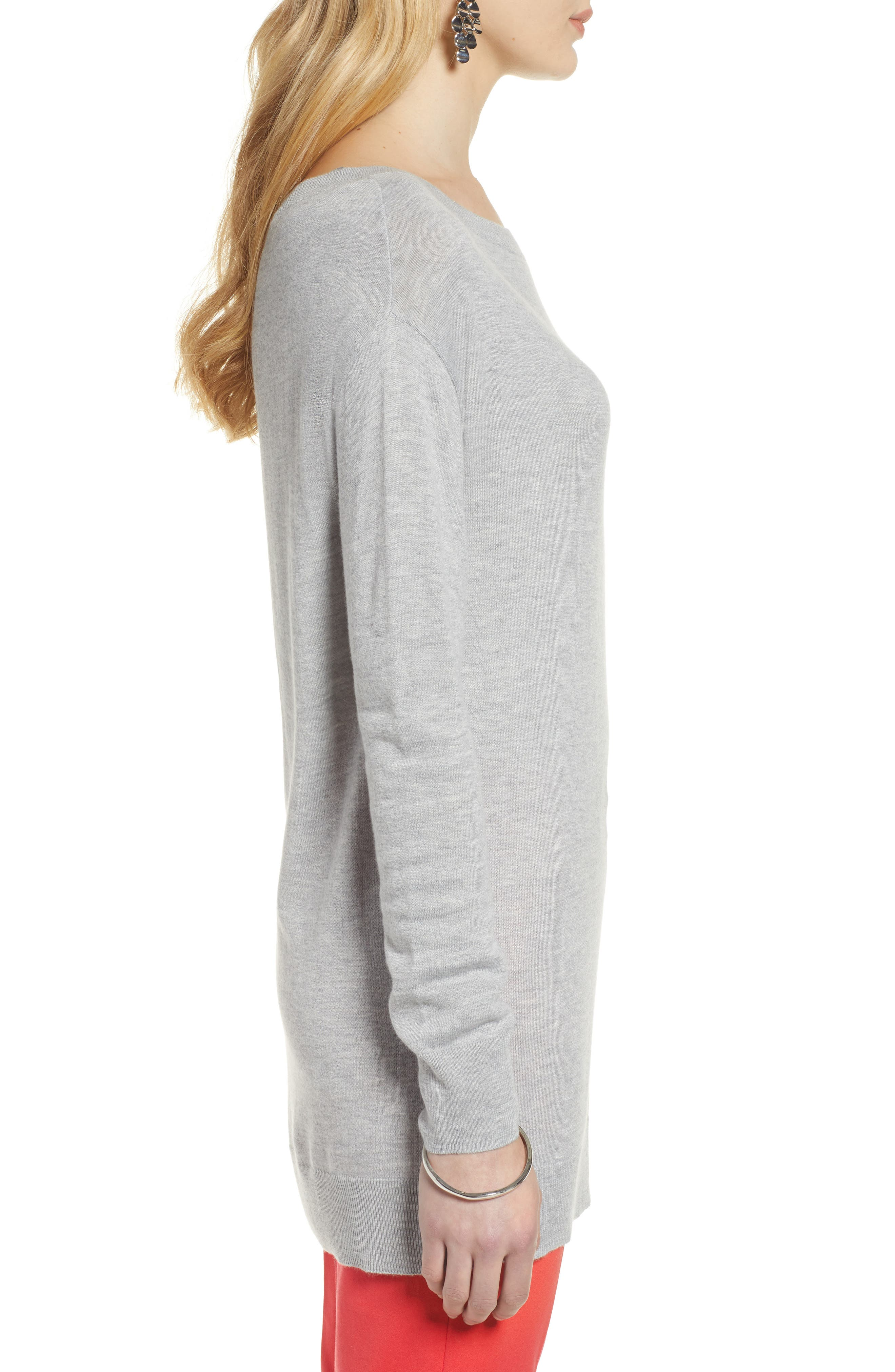 Boatneck Tunic Sweater,                             Alternate thumbnail 3, color,                             GREY HEATHER
