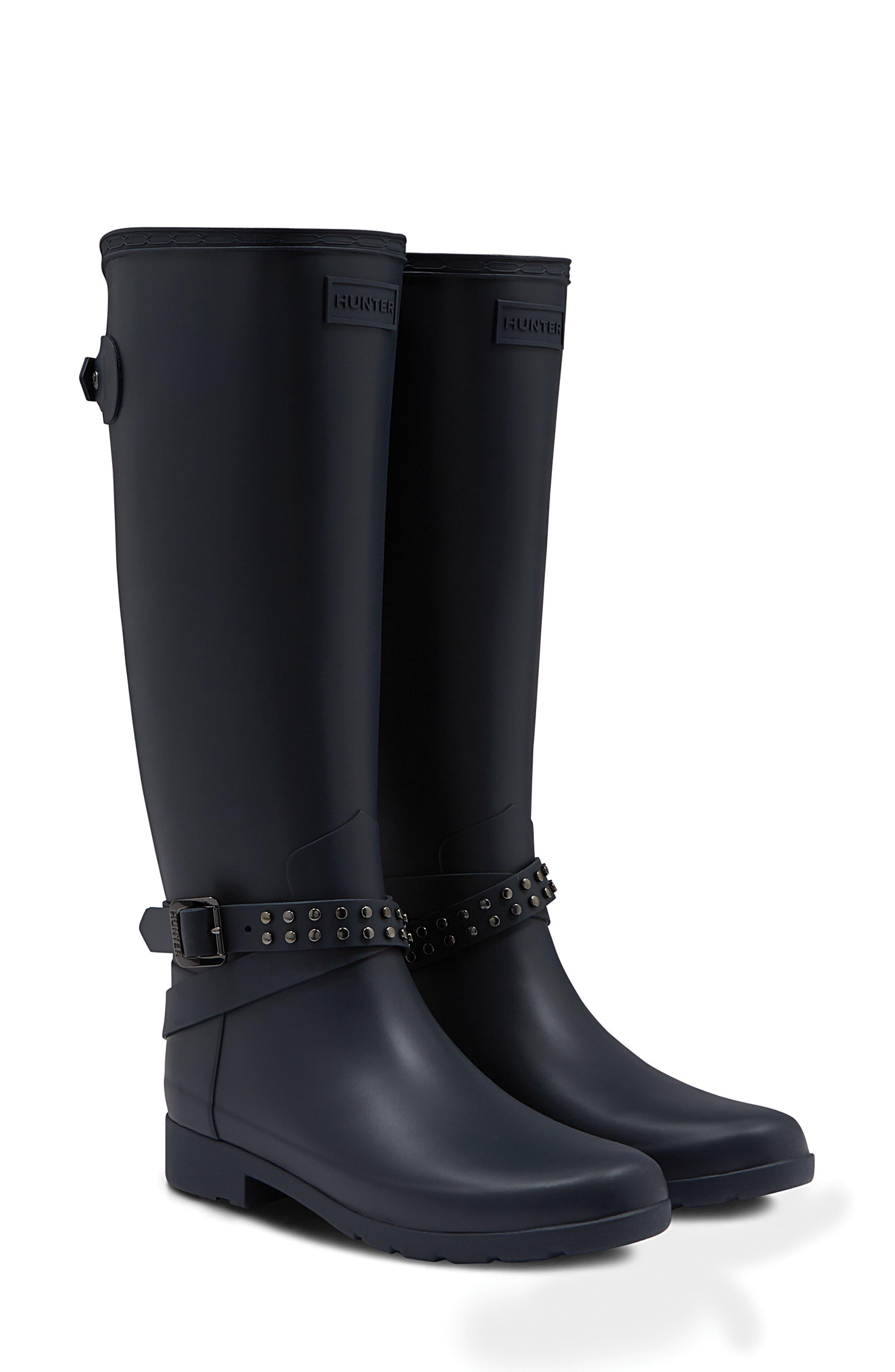 Refined Adjustable Back Knee High Waterproof Rain Boot,                             Main thumbnail 1, color,                             NAVY