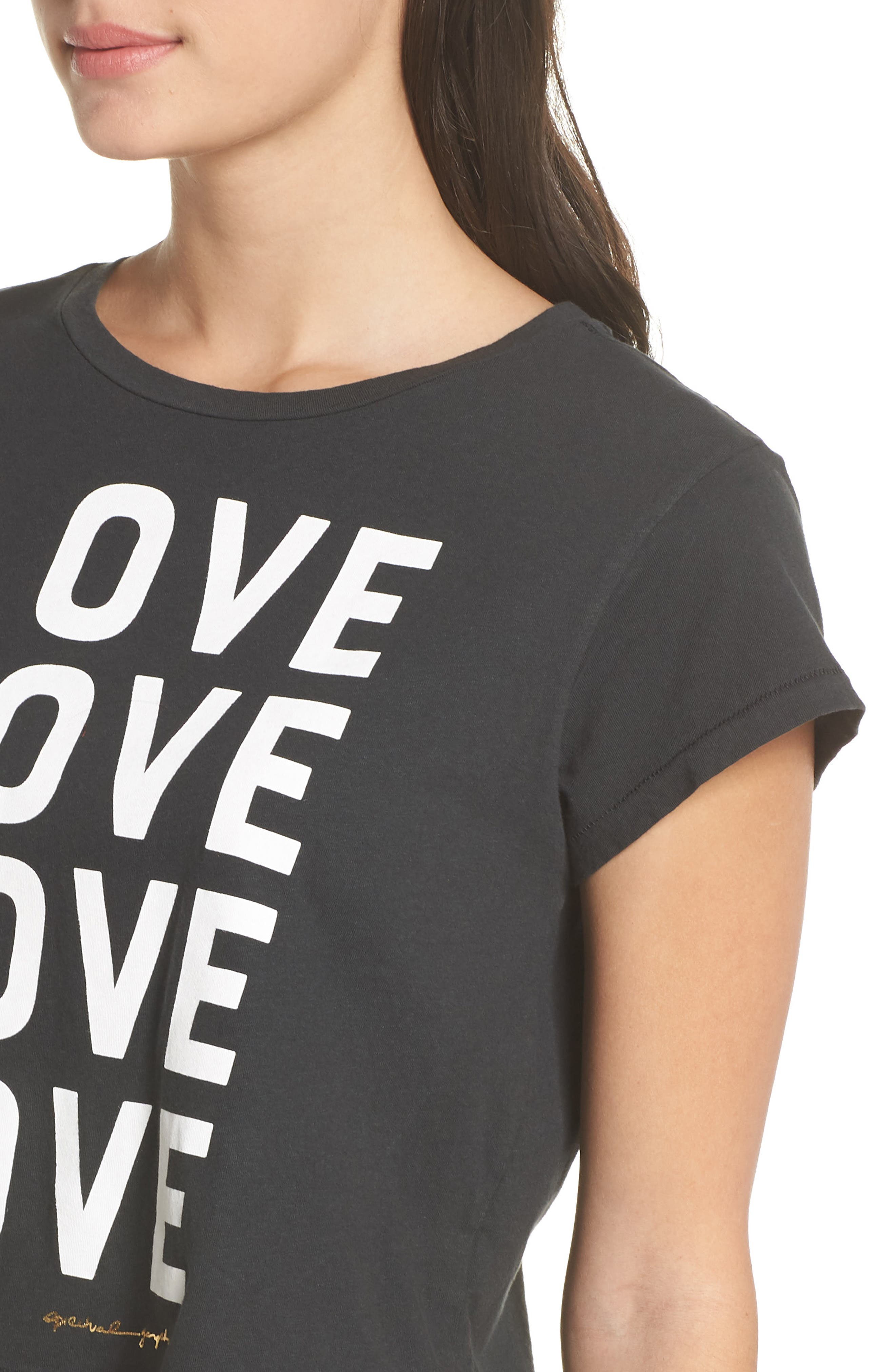 Love Vintage Crop Tee,                             Alternate thumbnail 4, color,                             VINTAGE BLACK