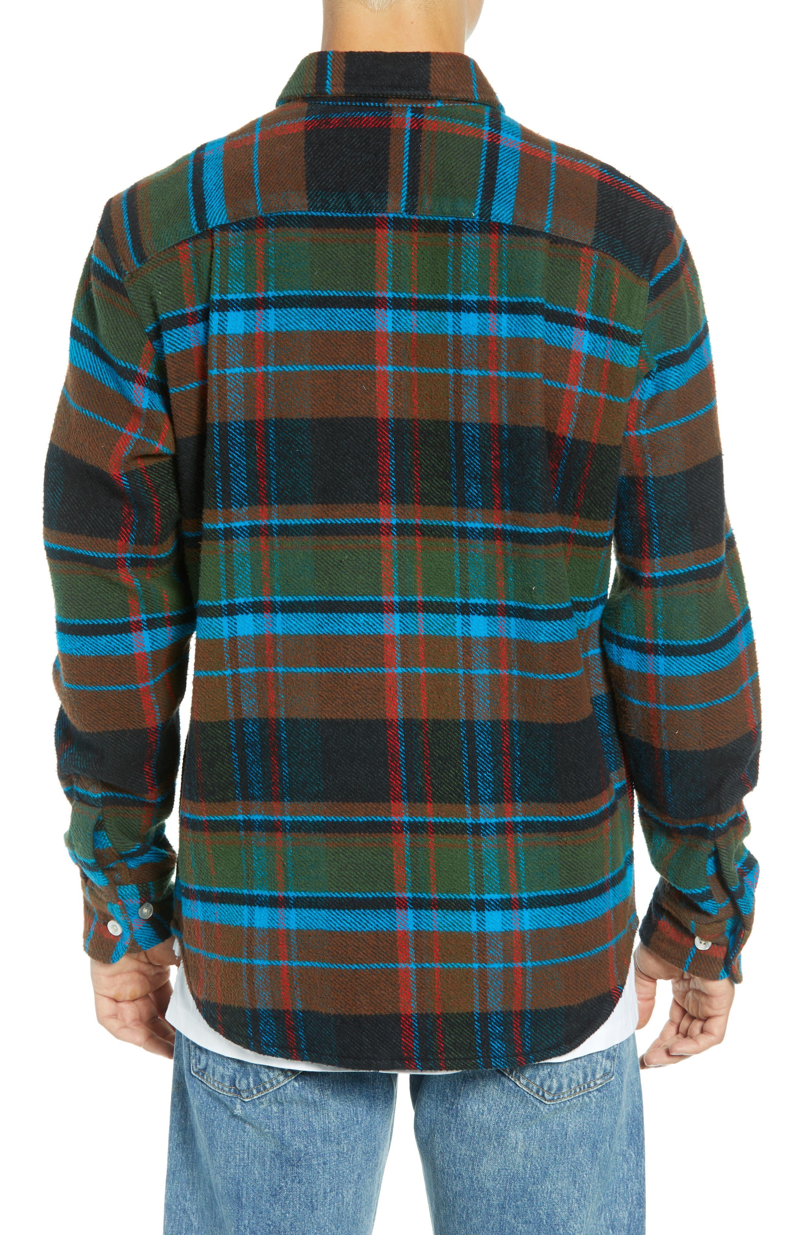 Homebound Heavy Plaid Flannel Shirt Jacket,                             Alternate thumbnail 3, color,                             BLACK FORREST MULTI