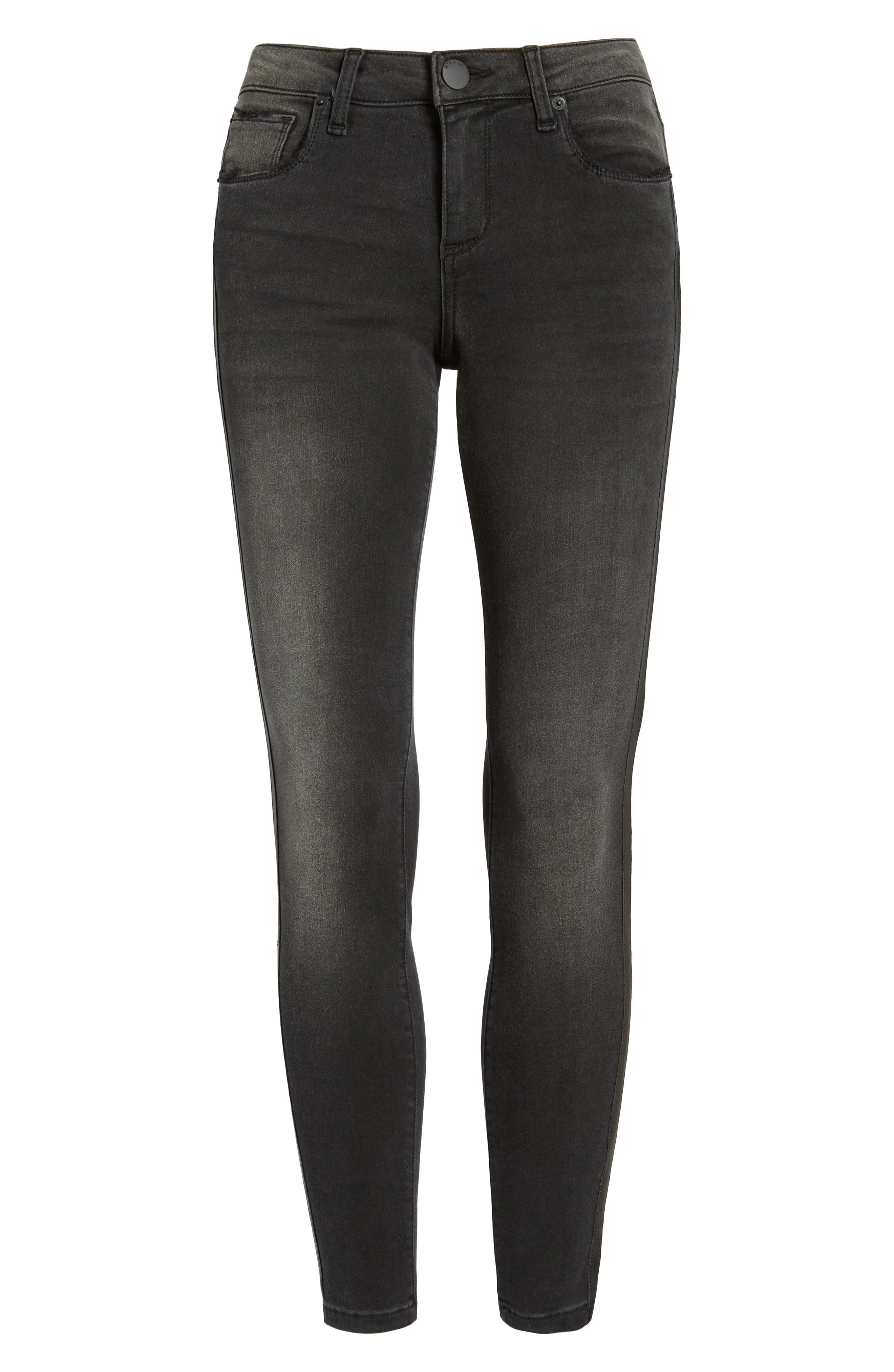 Faux Leather Stripe Skinny Jeans,                             Alternate thumbnail 6, color,                             001