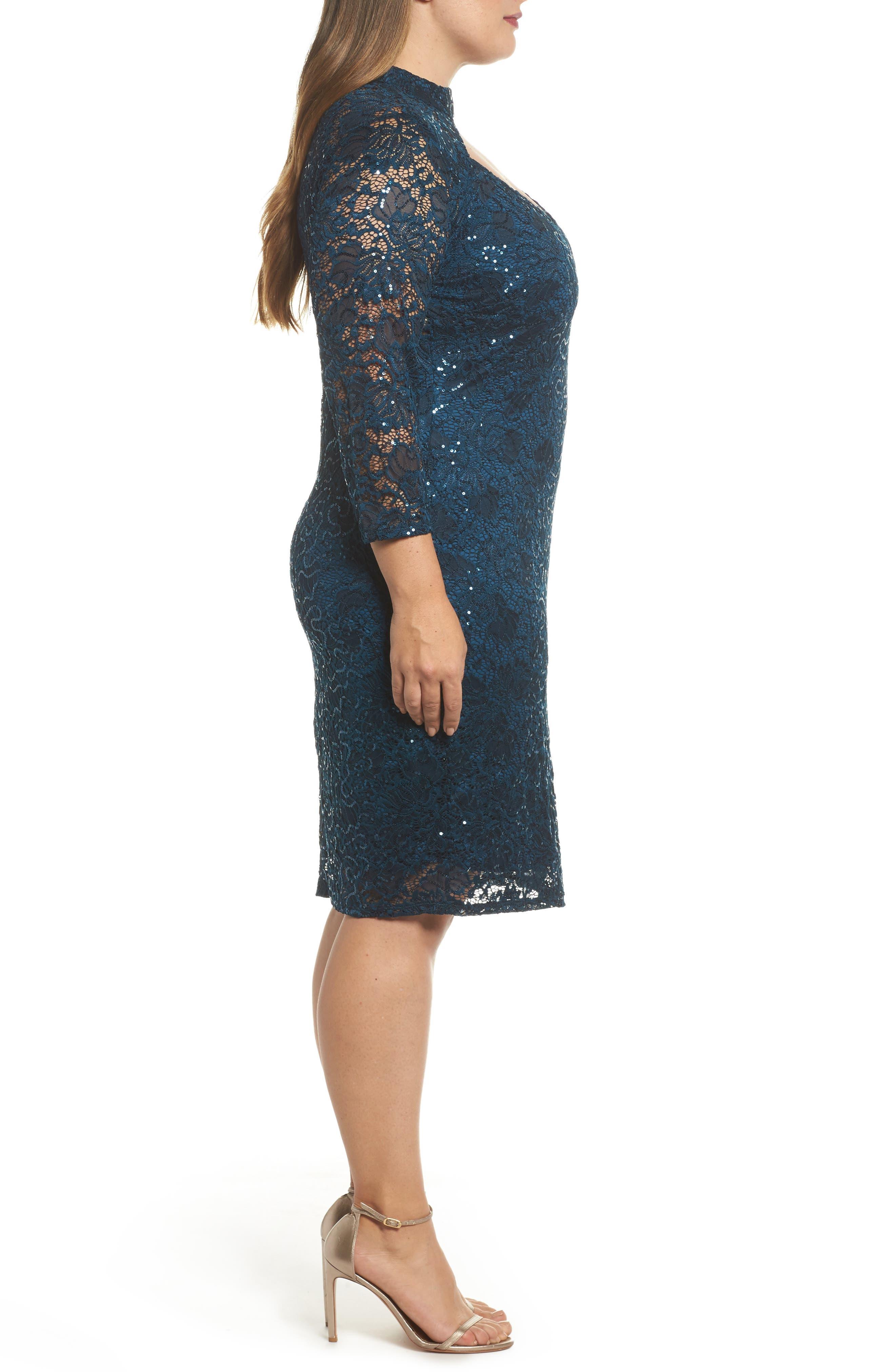 Choker Neck Lace Sheath Dress,                             Alternate thumbnail 3, color,                             300