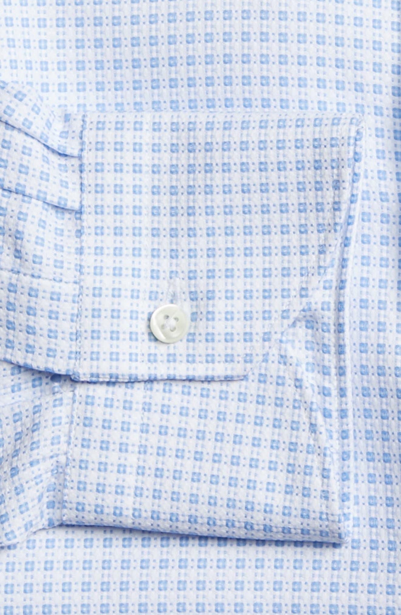 Trim Fit Check Dress Shirt,                             Alternate thumbnail 7, color,                             430