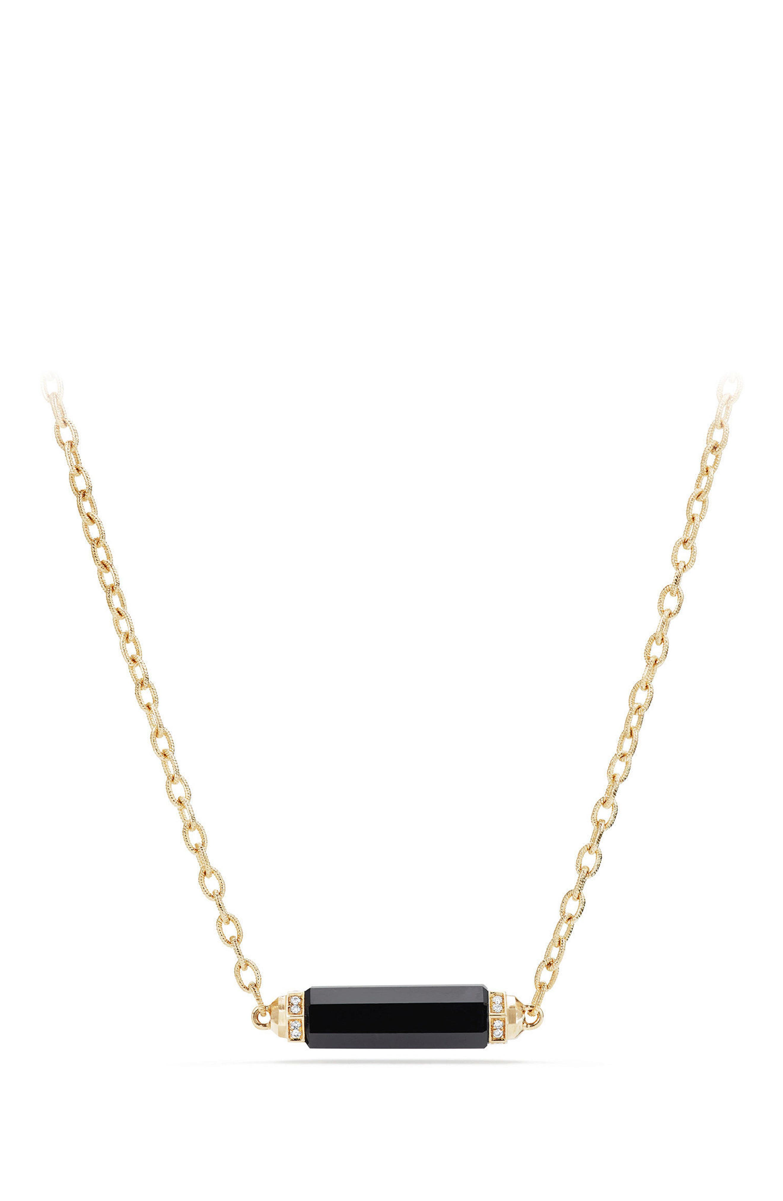 Barrels Single Station Necklace with Diamonds in 18K Gold,                         Main,                         color, BLACK ONYX