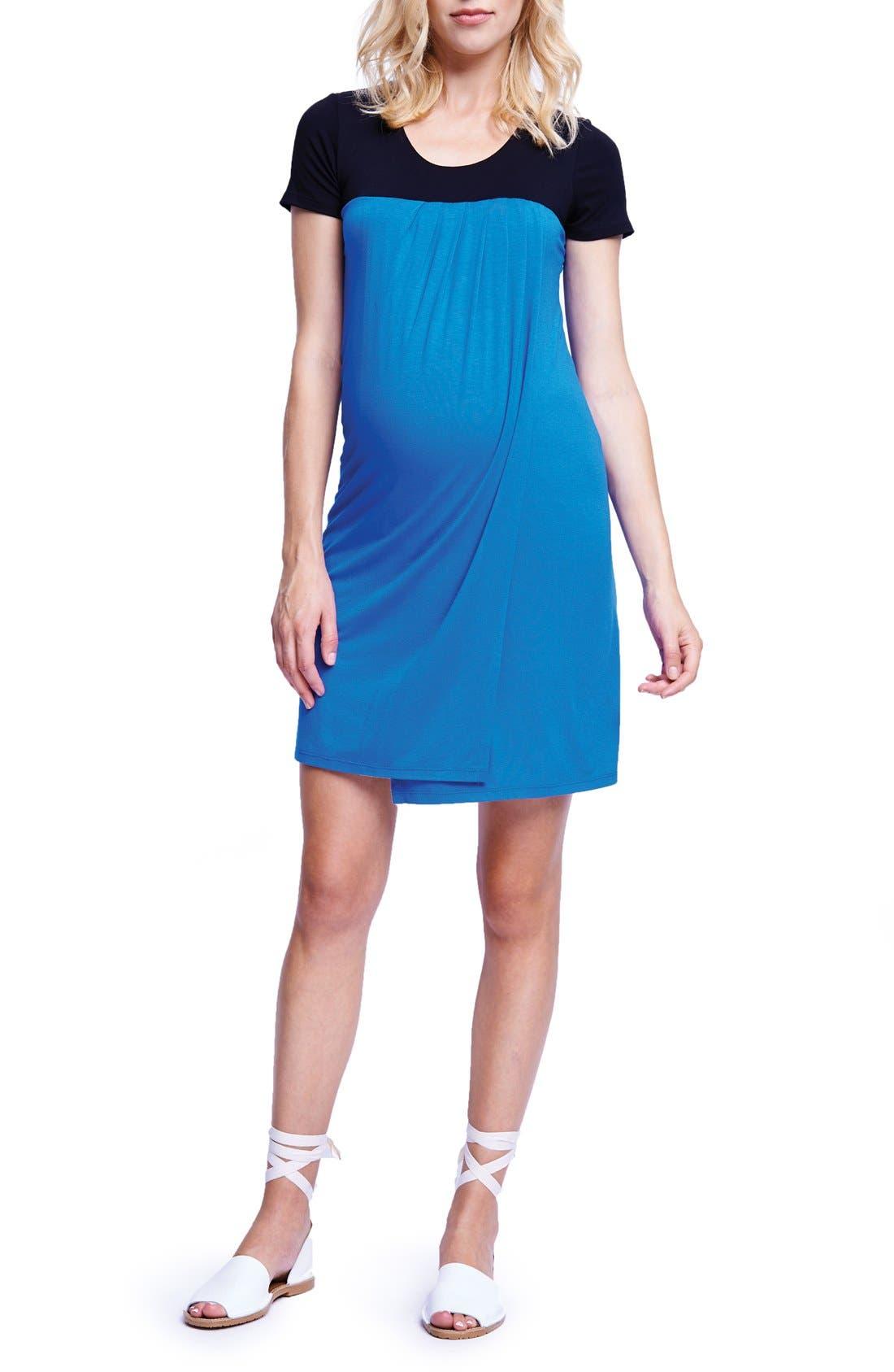 MATERNAL AMERICA,                             Babydoll Maternity/Nursing Dress,                             Main thumbnail 1, color,                             BLACK/ ROYAL BLUE