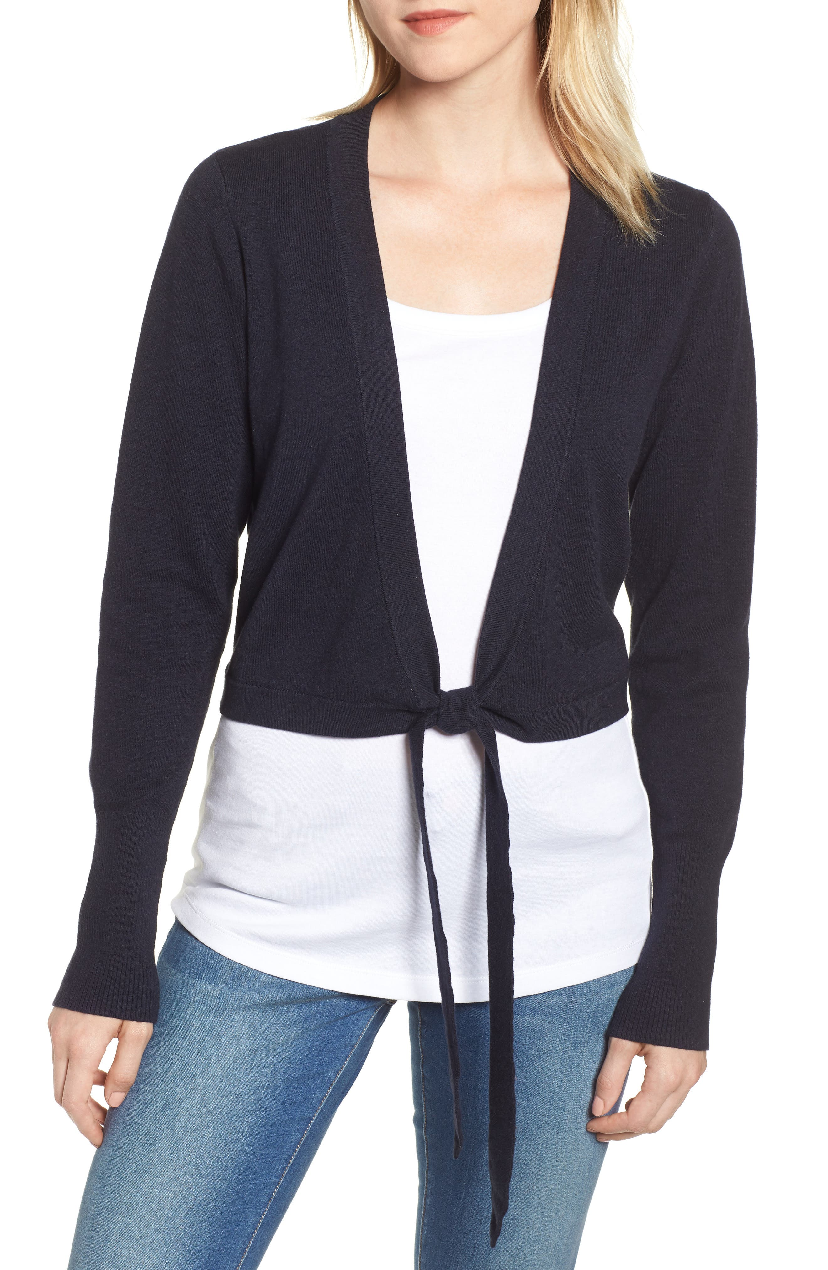 Tie Front Cardigan,                         Main,                         color, DEEPEST NAVY MIX