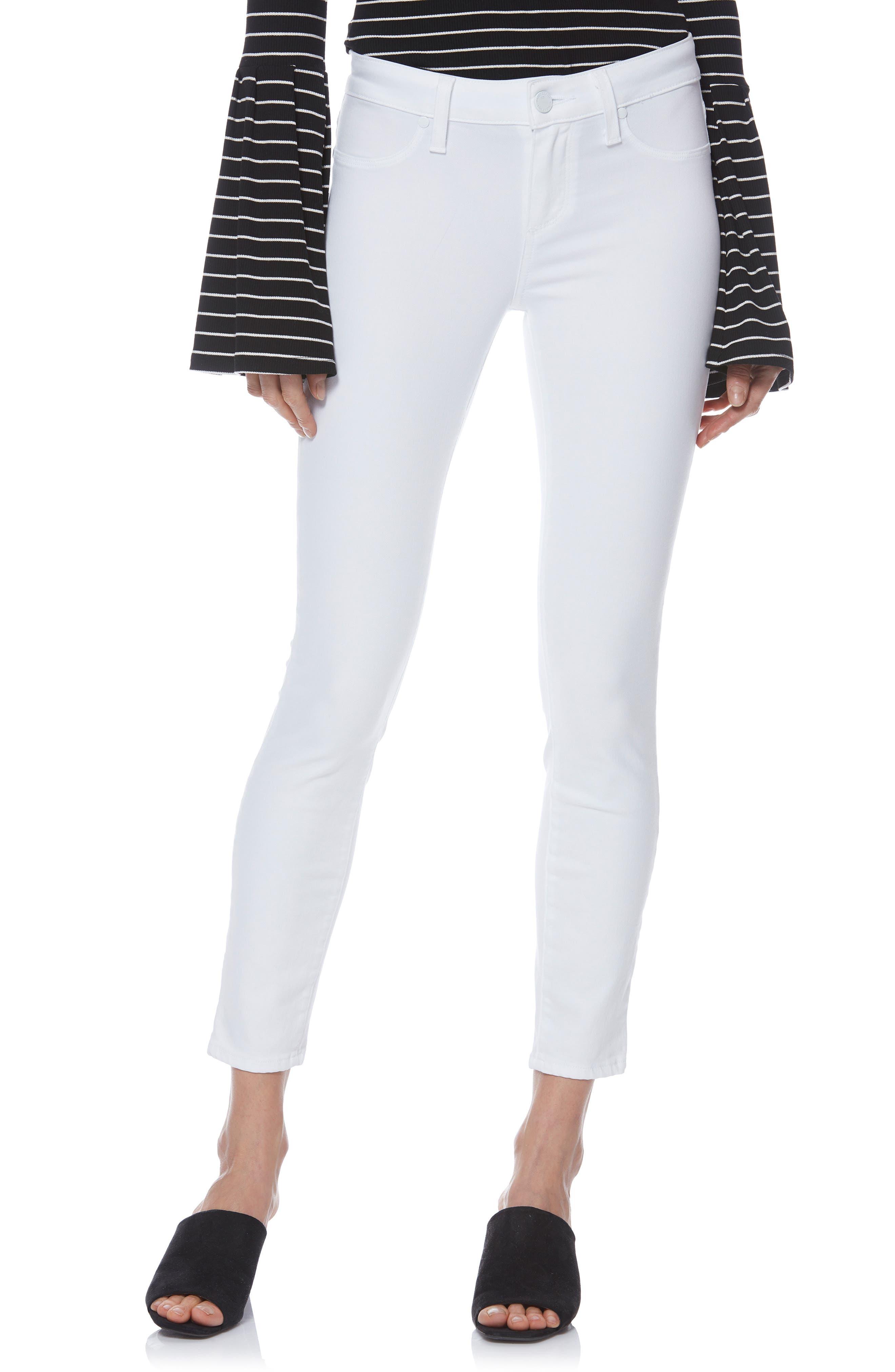 PAIGE Verdugo Faux Pocket Crop Skinny Jeans, Main, color, VIVID WHITE