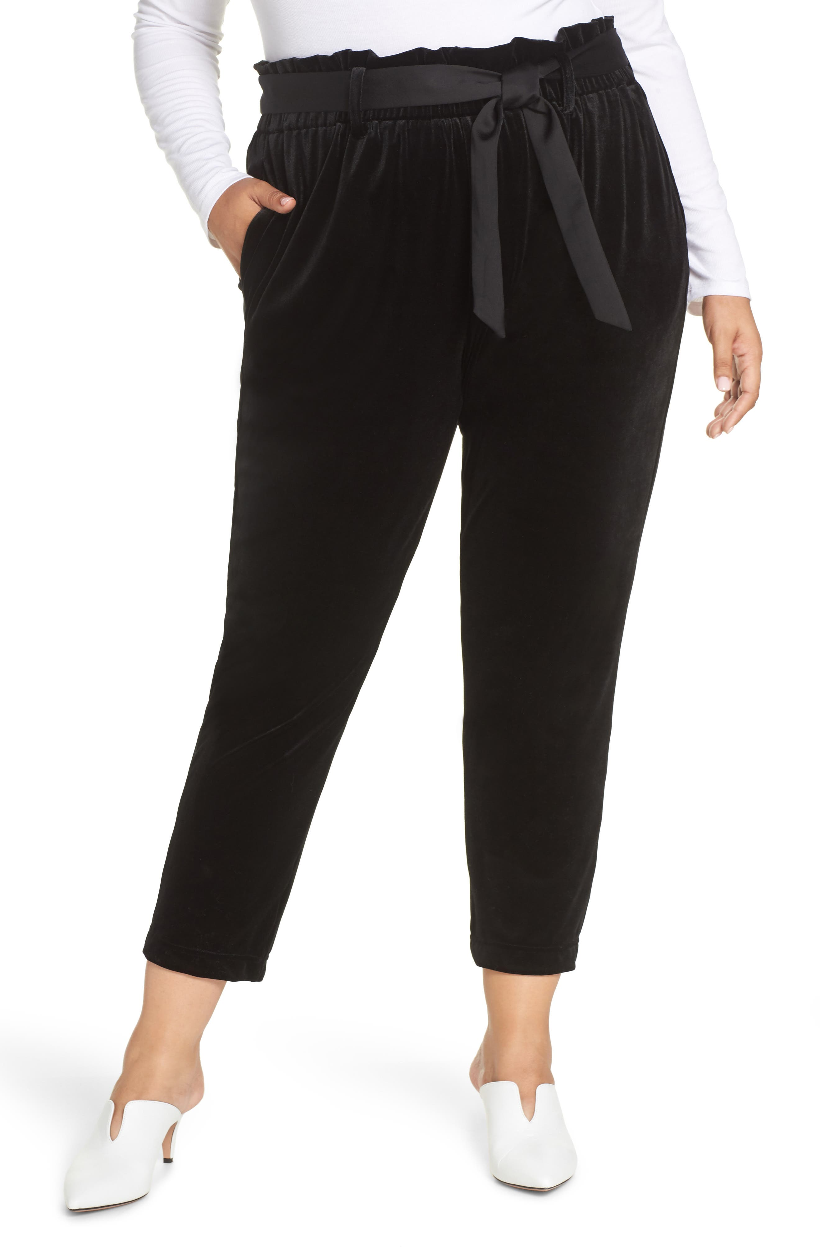 Tie Waist Velvet Pants,                             Alternate thumbnail 2, color,                             001
