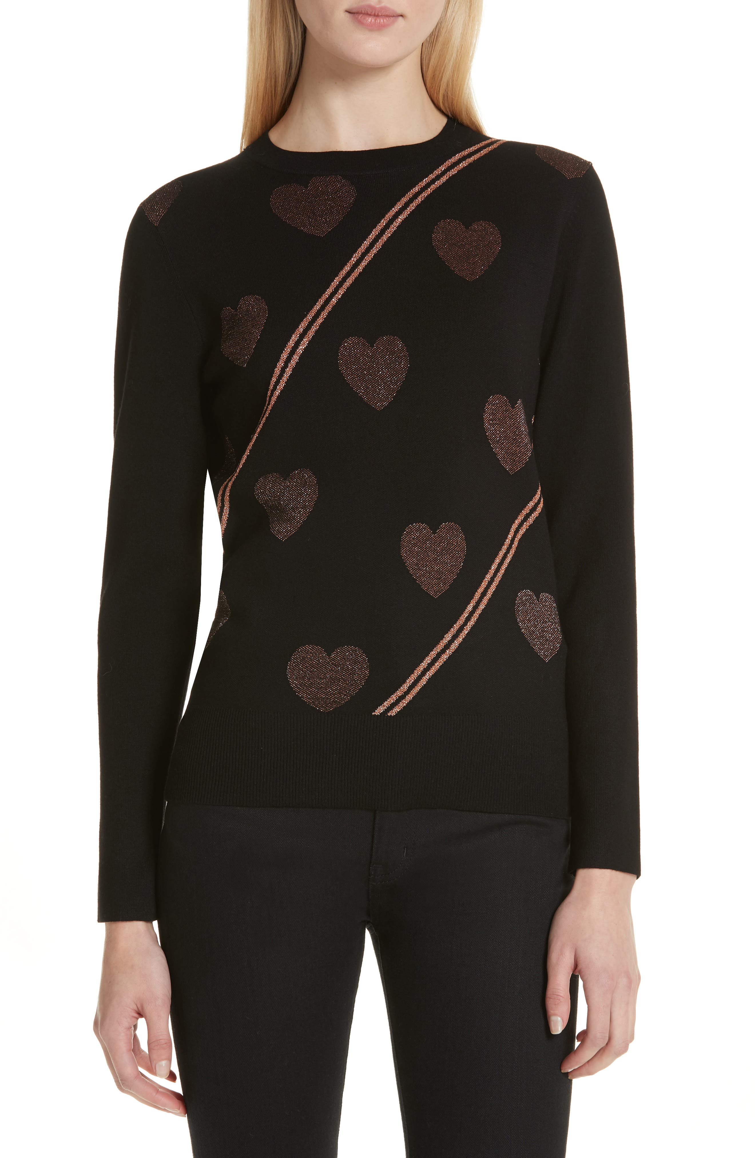 Heart Sweater,                         Main,                         color, BLACK
