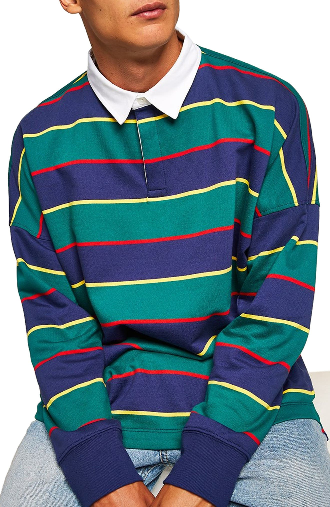Rugby Stripe Shirt, Main, color, GREEN MULTI