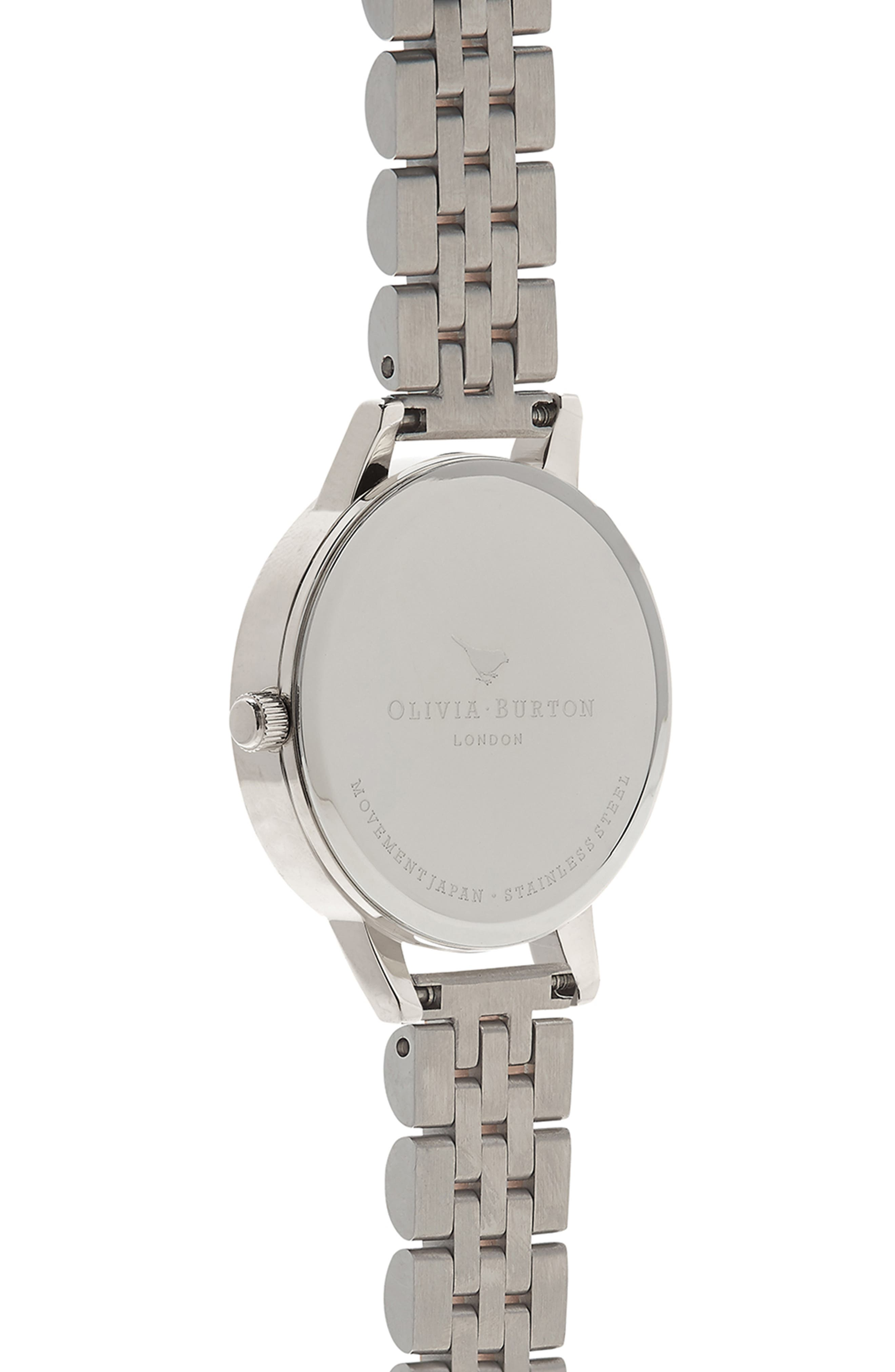 Midi Round Bracelet Watch, 30mm,                             Alternate thumbnail 3, color,                             SILVER/ WHITE/ ROSE GOLD