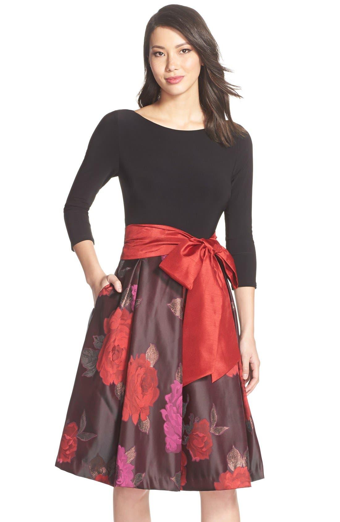Floral Jacquard Fit & Flare Dress,                             Main thumbnail 1, color,                             014