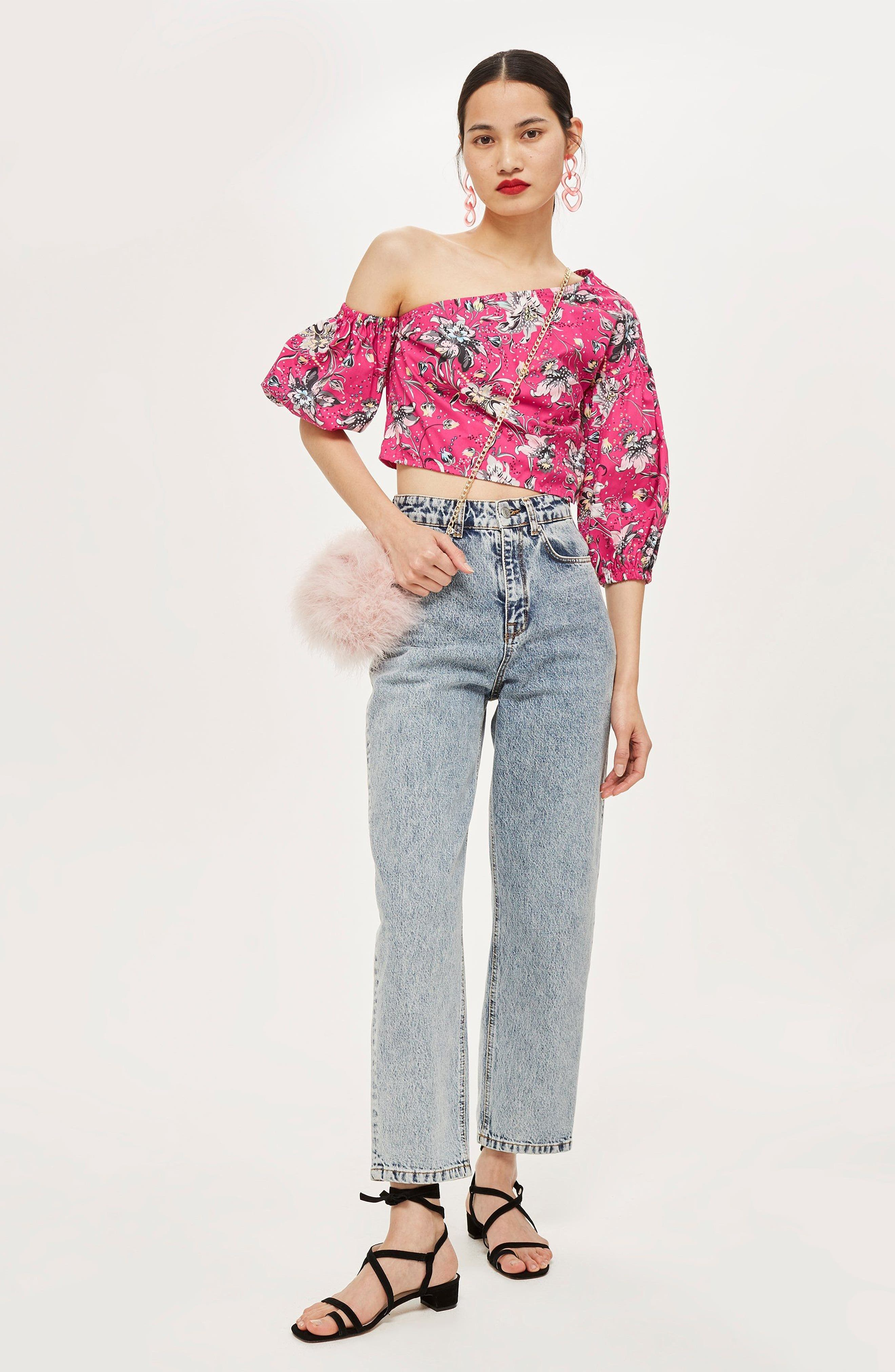 Floral Puff Off the Shoulder Top,                             Alternate thumbnail 4, color,                             651