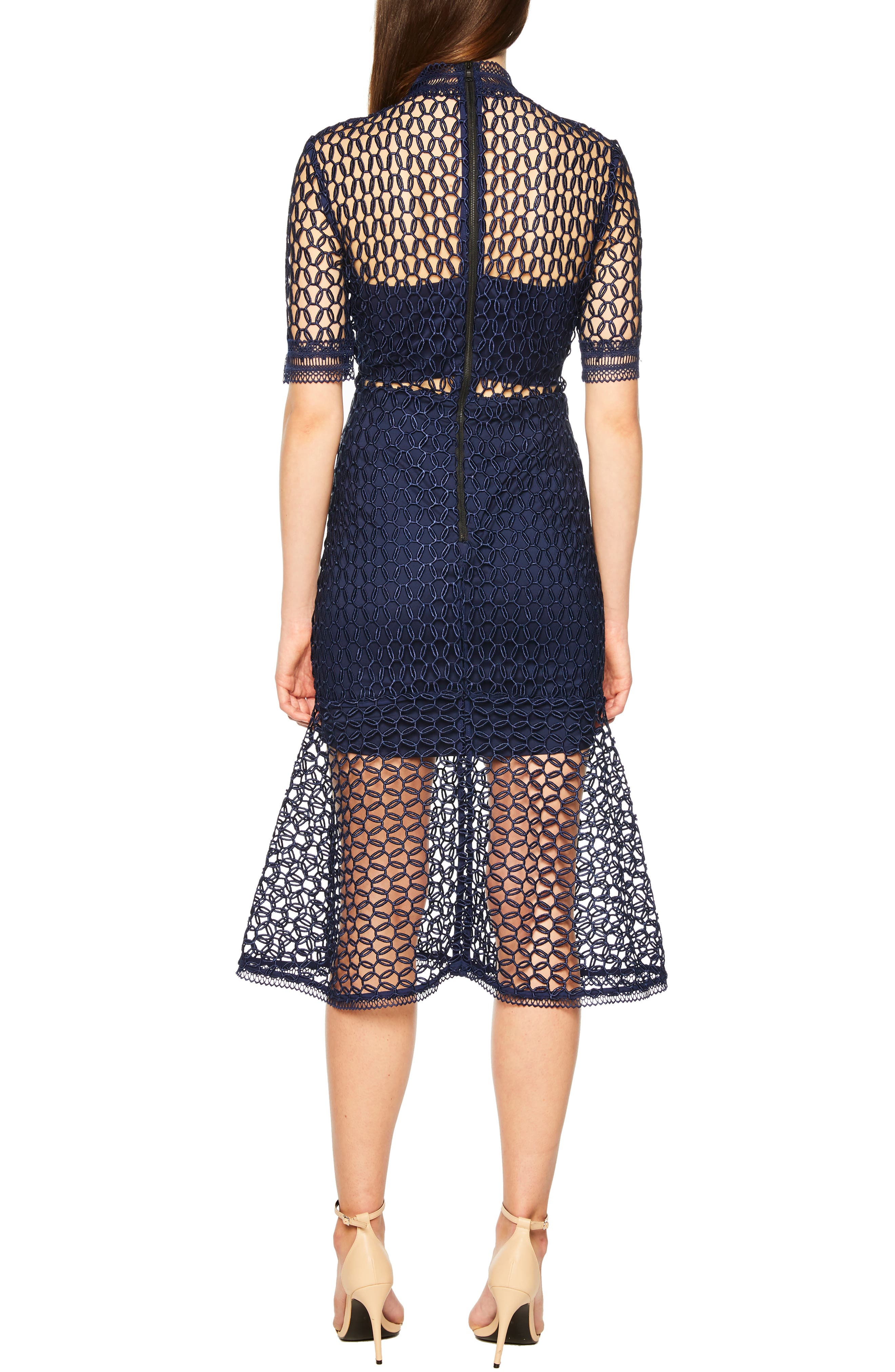 Fiona Mesh Lace Trumpet Dress,                             Alternate thumbnail 2, color,                             FRENCH NAVY