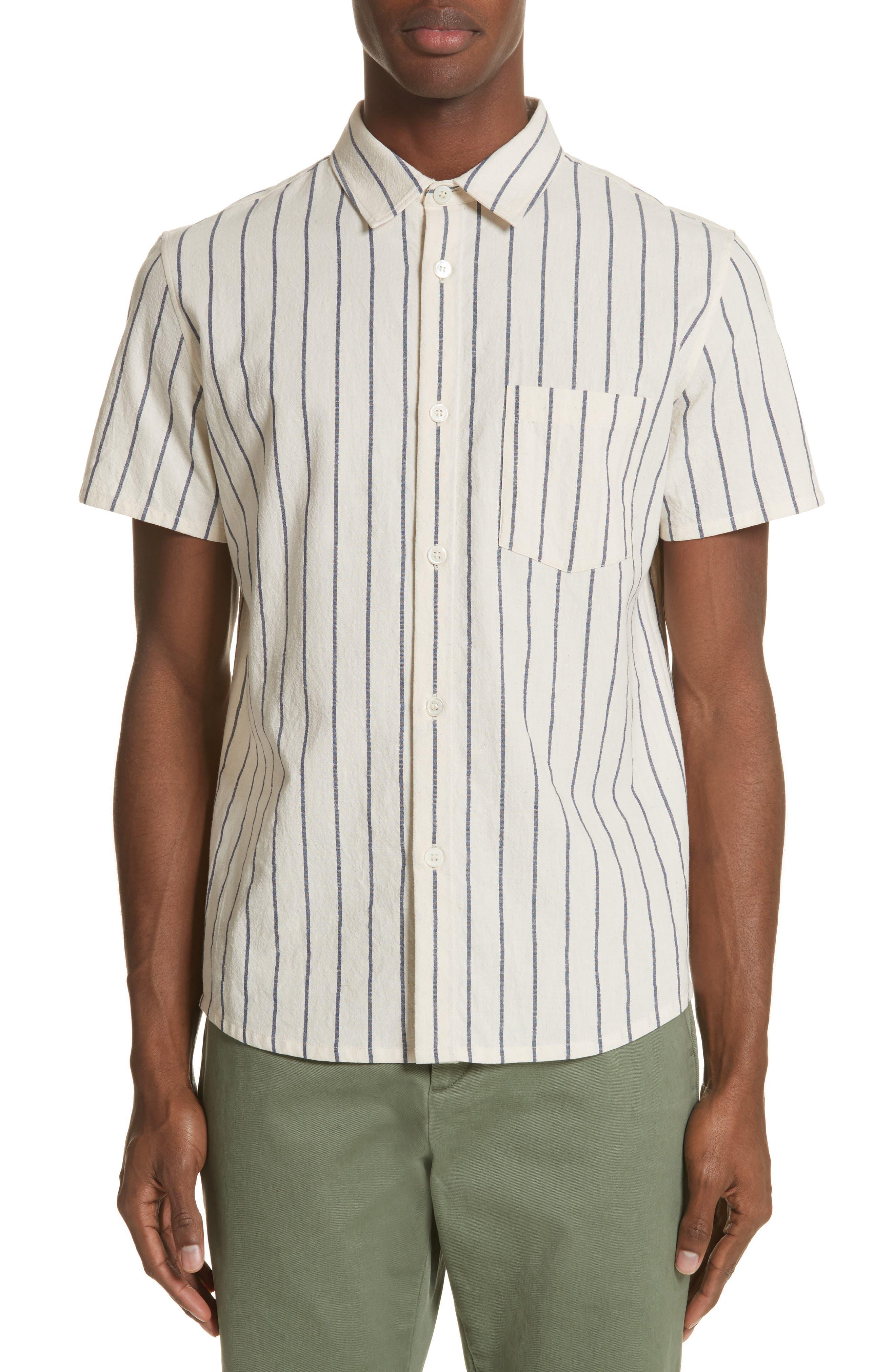 Bryan Stripe Woven Shirt,                         Main,                         color, ECRU