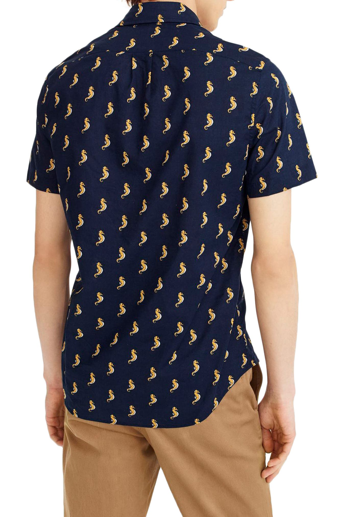Slim Fit Secret Wash Short Sleeve Seahorse Print Sport Shirt,                             Alternate thumbnail 2, color,                             400
