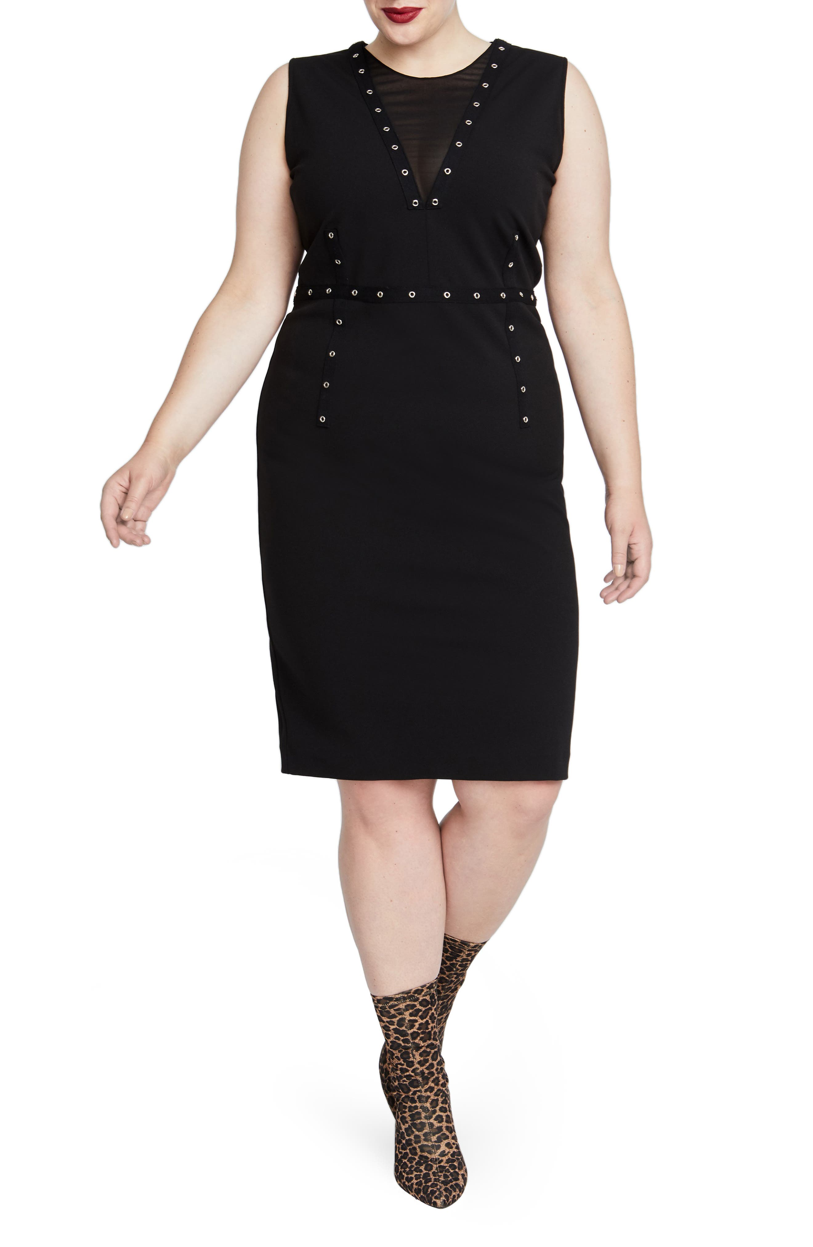 Zane Sleeveless Sheath Dress,                             Main thumbnail 1, color,                             BLACK