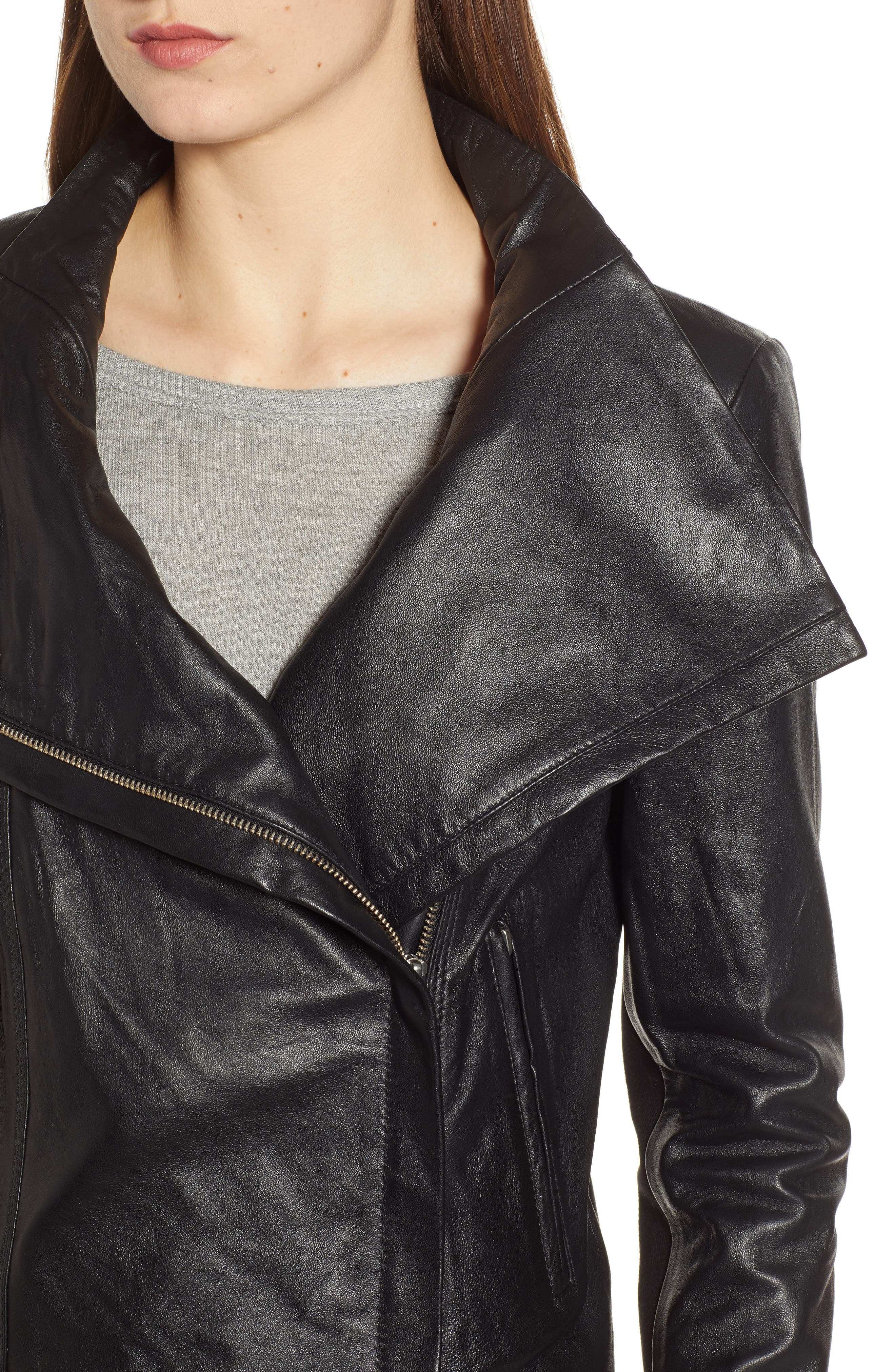 Funnel Neck Moto Jacket,                             Alternate thumbnail 5, color,                             BLACK