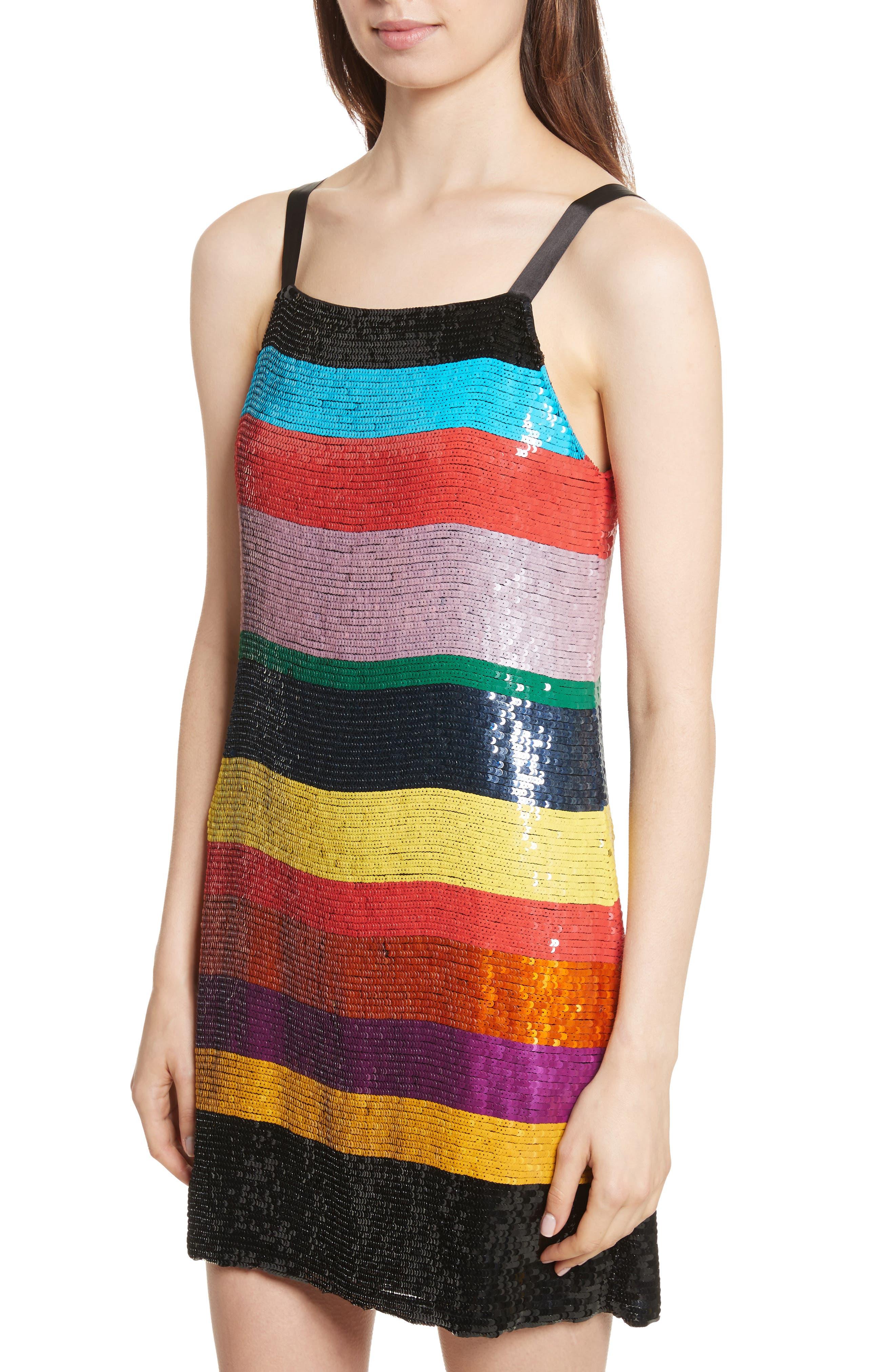 Bridget Striped Sequin Slipdress,                             Alternate thumbnail 4, color,                             006