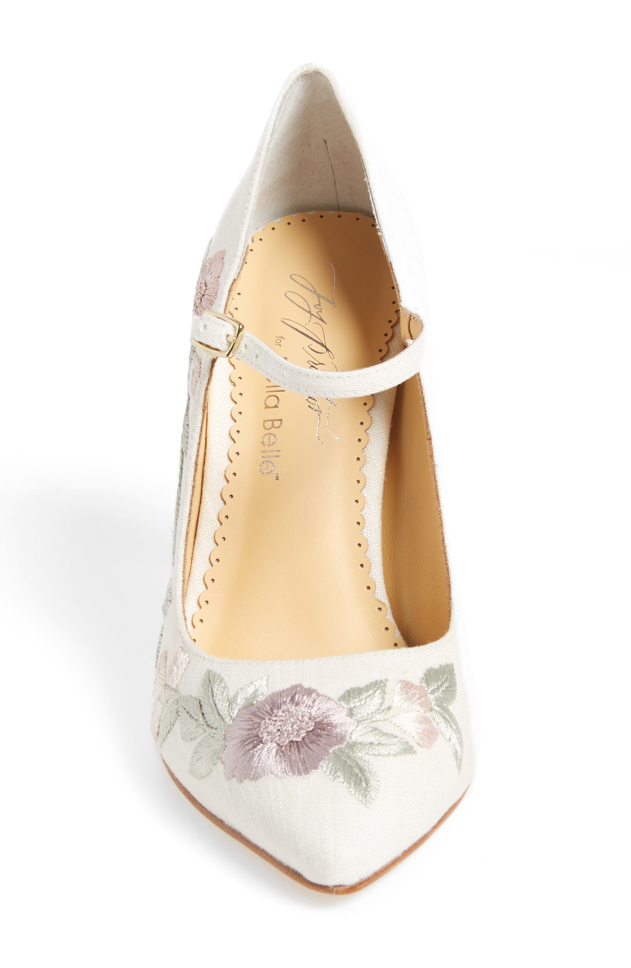 Adelaide Embroidered Pump,                             Alternate thumbnail 4, color,                             LIGHT FLAX FABRIC