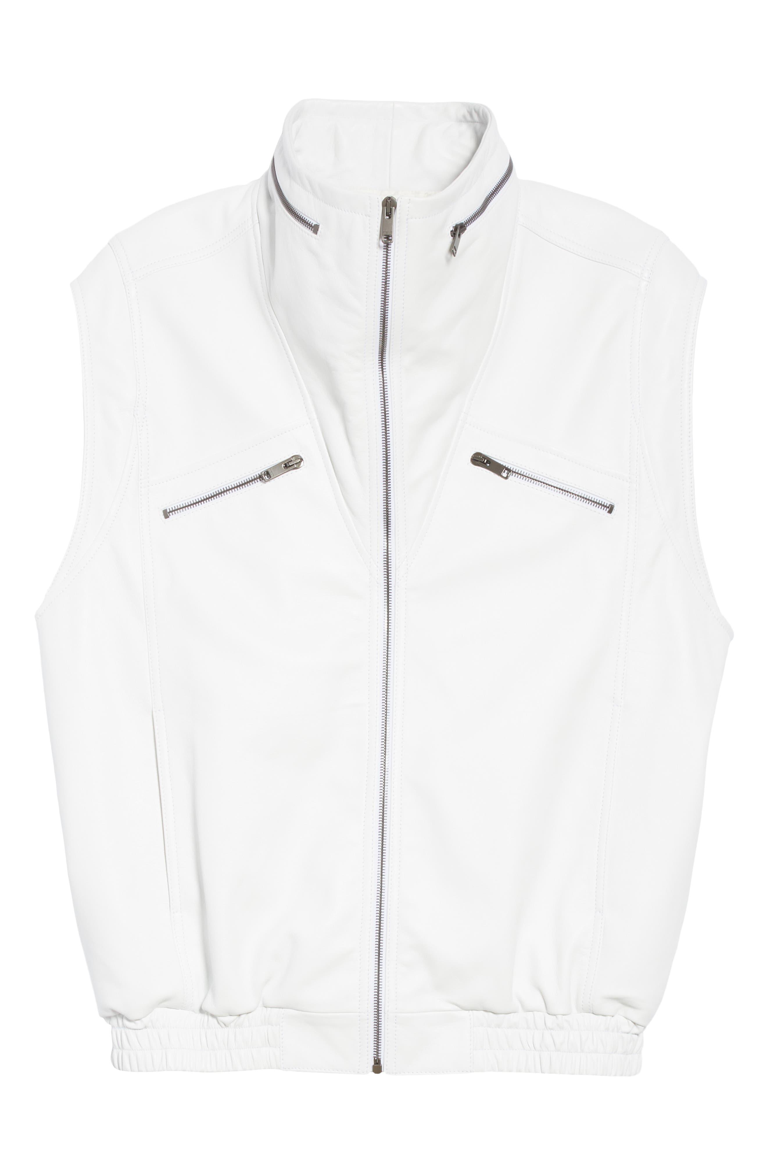 Sleeveless Zip Leather Vest,                             Alternate thumbnail 5, color,                             WHITE