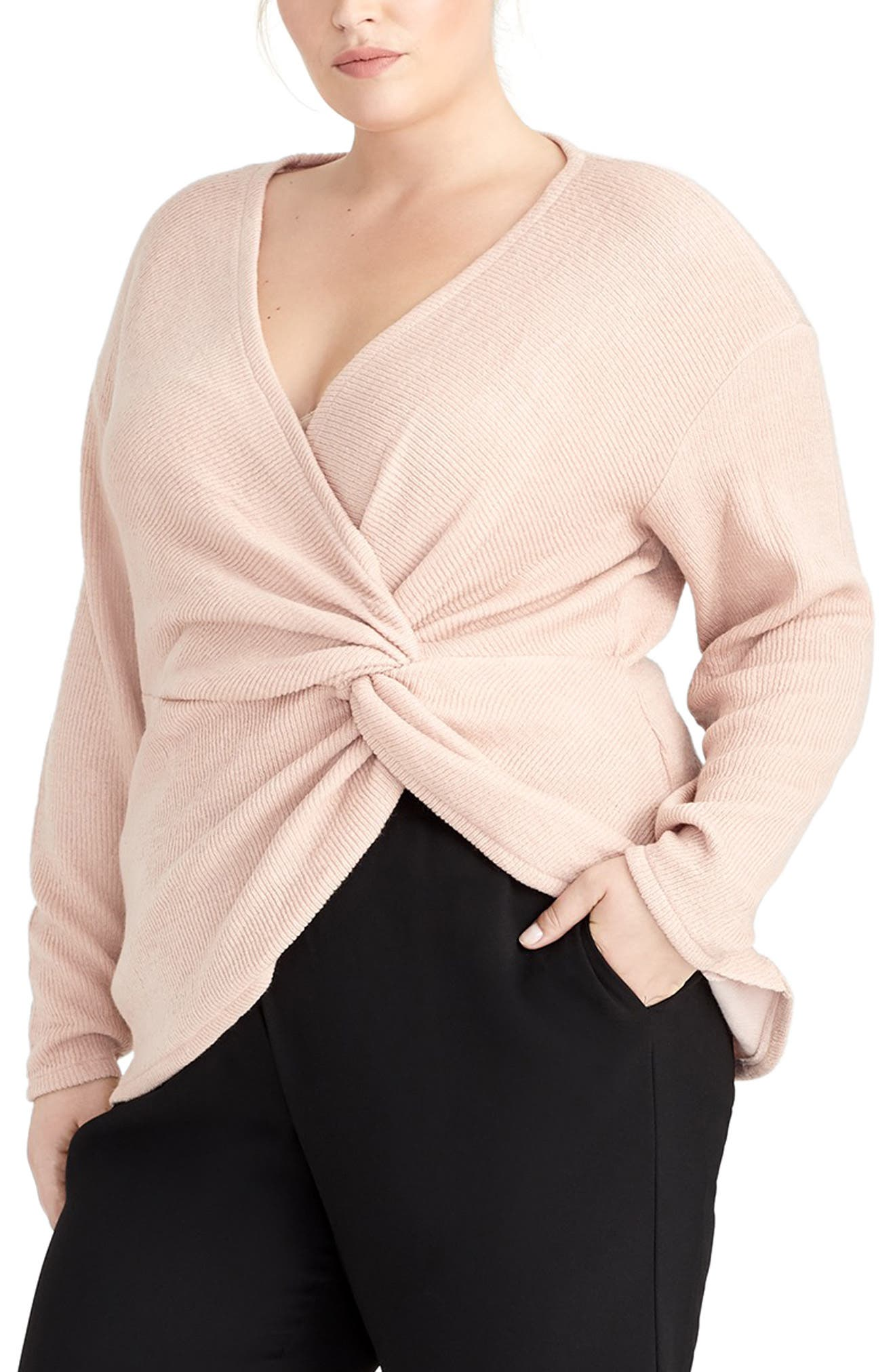 Leigha Twist Front Top,                         Main,                         color, BLUSH