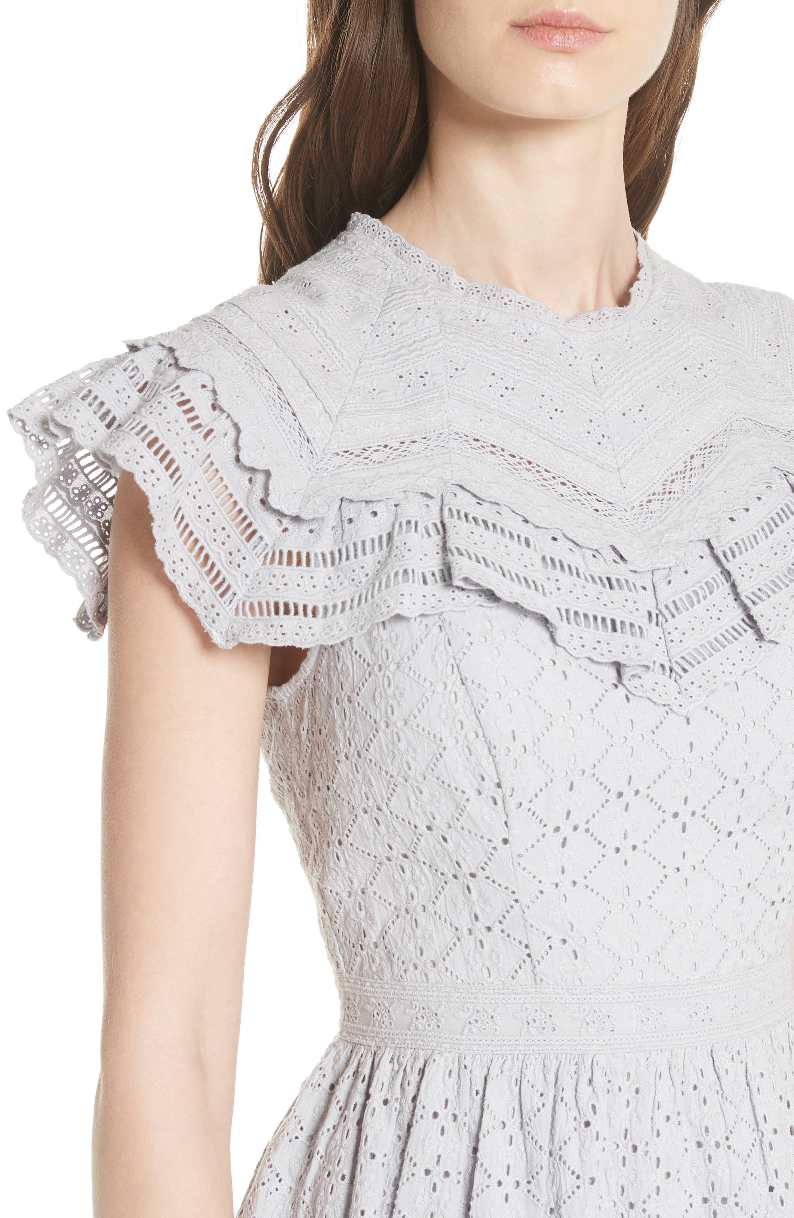 Tiled Broderie Anglaise Lace Dress,                             Alternate thumbnail 4, color,