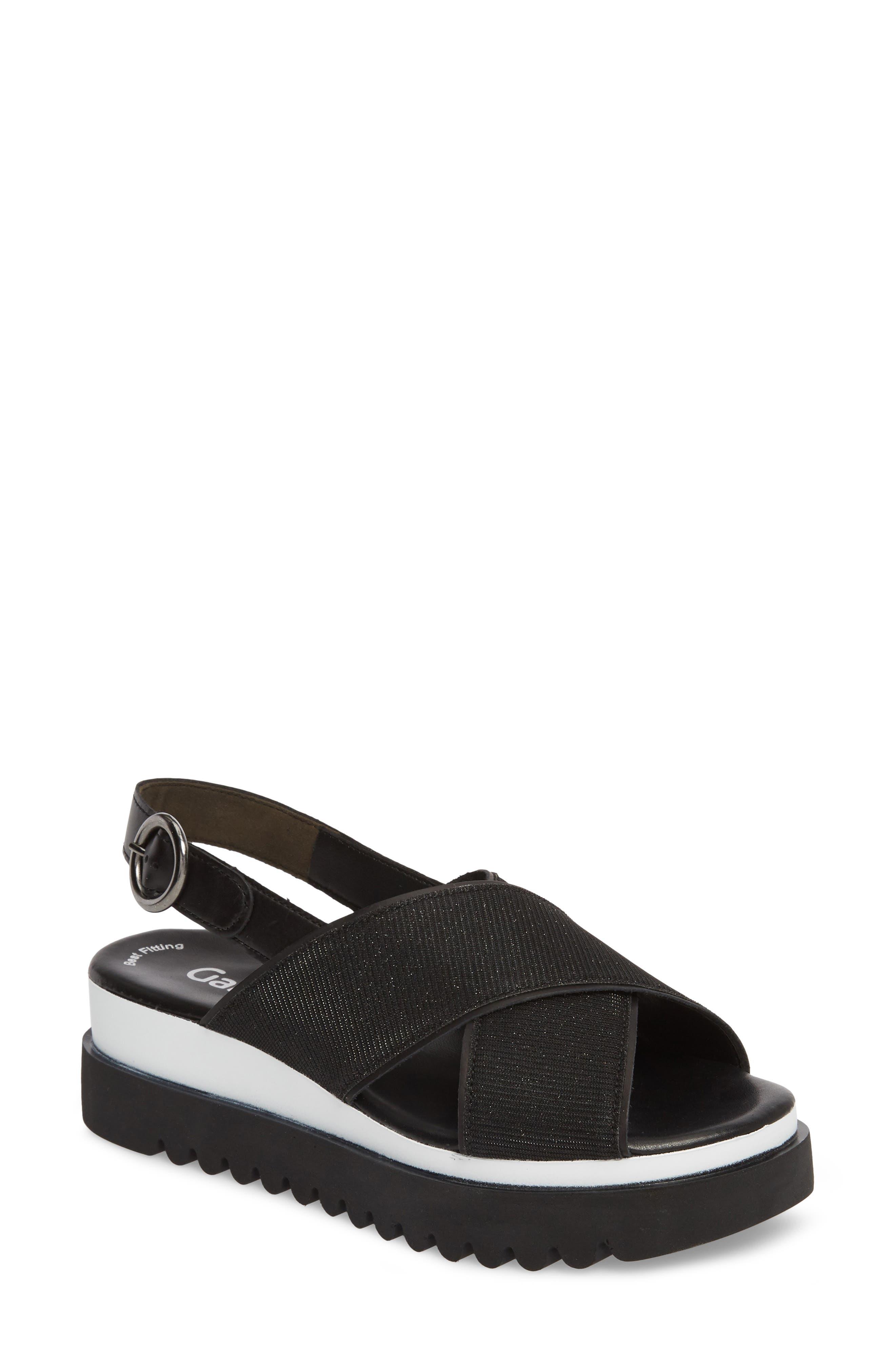 Crossover Strap Platform Sandal,                             Main thumbnail 1, color,                             BLACK LEATHER
