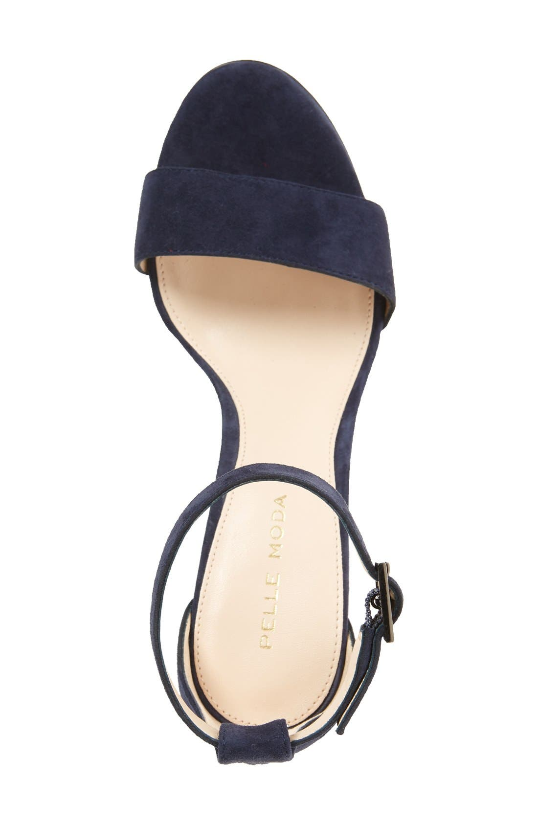 PELLE MODA,                             Bonnie Ankle Strap Sandal,                             Alternate thumbnail 3, color,                             MIDNIGHT BLUE SUEDE
