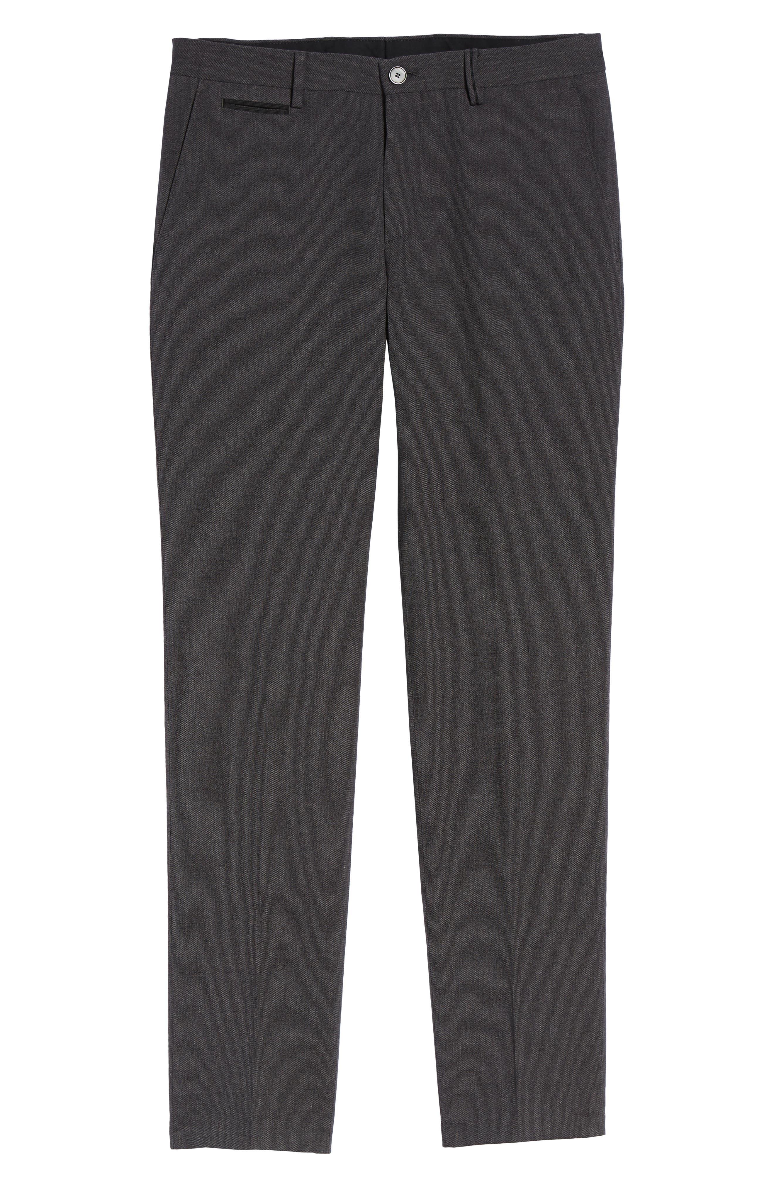 Batho Flat Front Solid Cotton Trousers,                             Alternate thumbnail 6, color,                             MEDIUM GREY