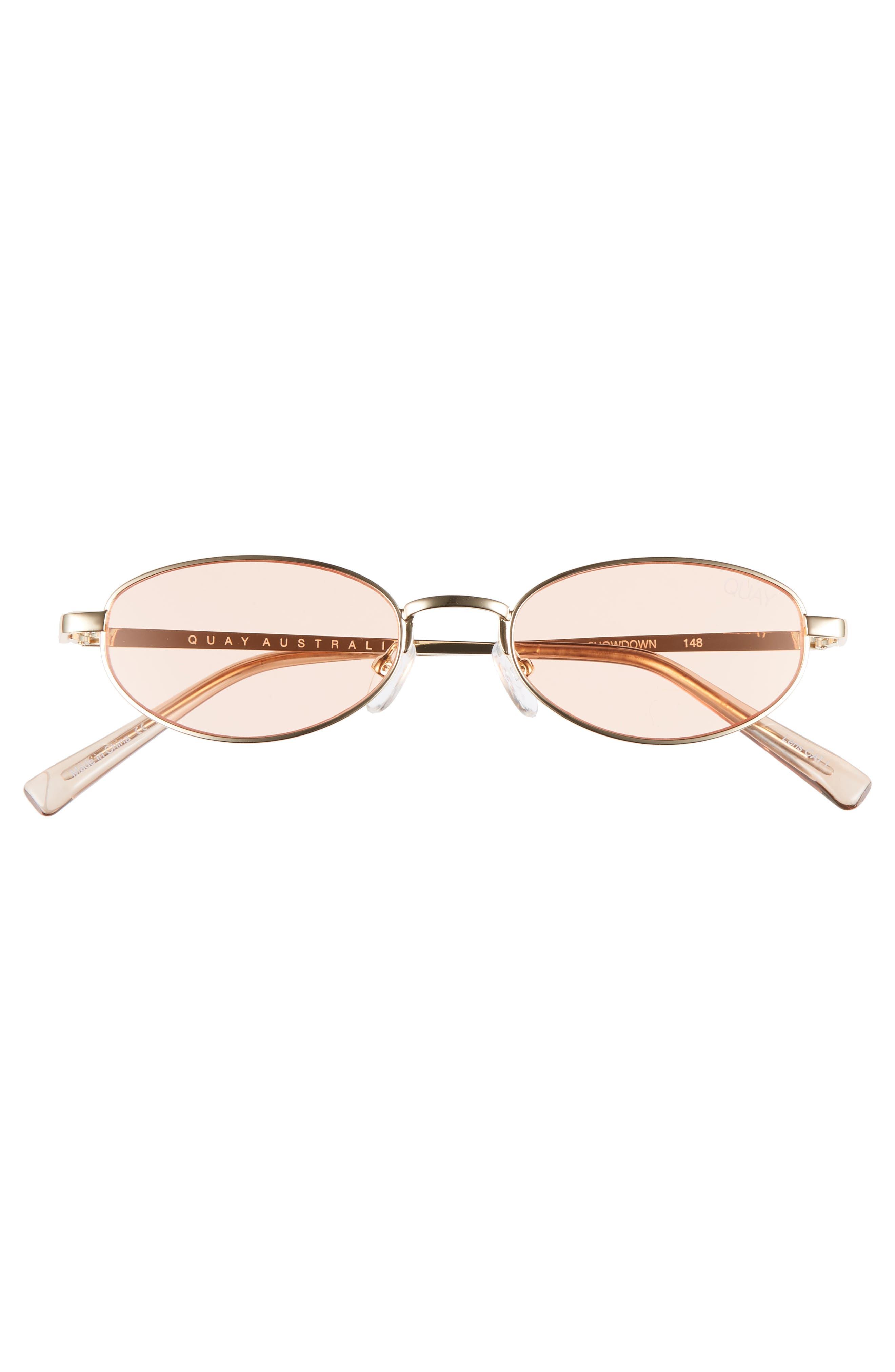 49mm Showdown Oval Sunglasses,                             Alternate thumbnail 3, color,                             GOLD