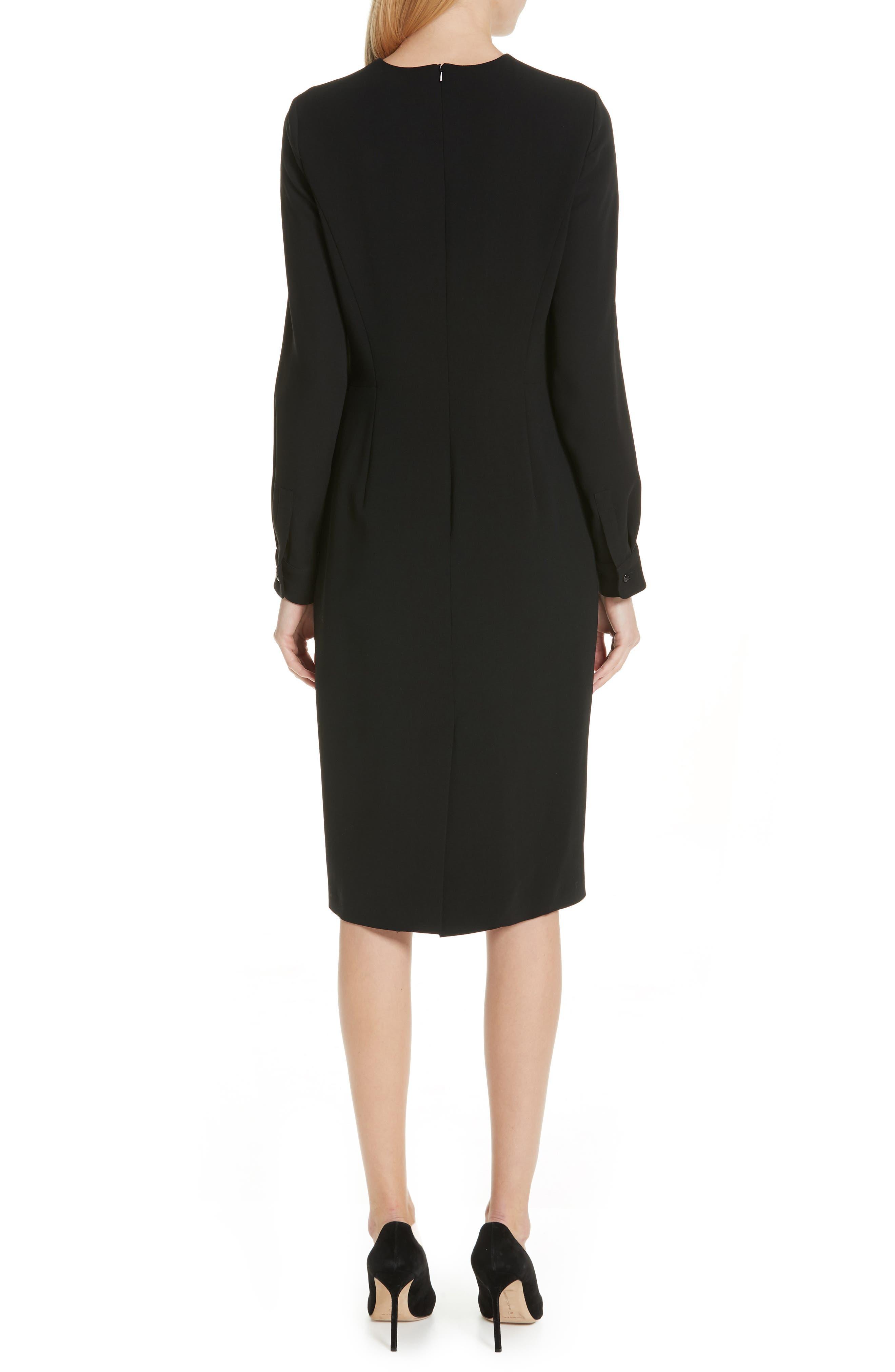 Ottelia Stretch Wool Sheath Dress,                             Alternate thumbnail 2, color,                             BLACK