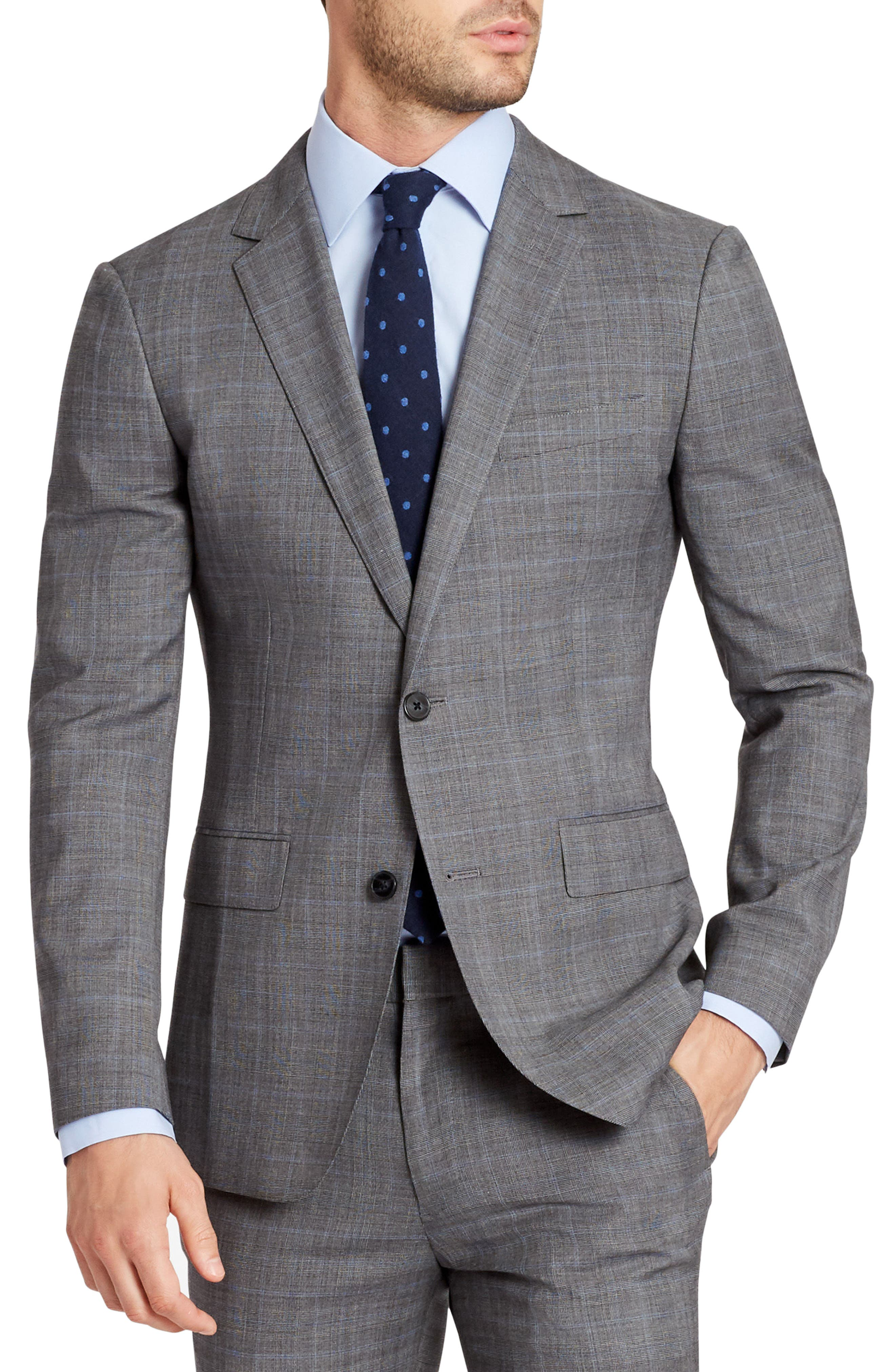Jetsetter Slim Fit Plaid Stretch Wool Sport Coat,                             Main thumbnail 1, color,                             020
