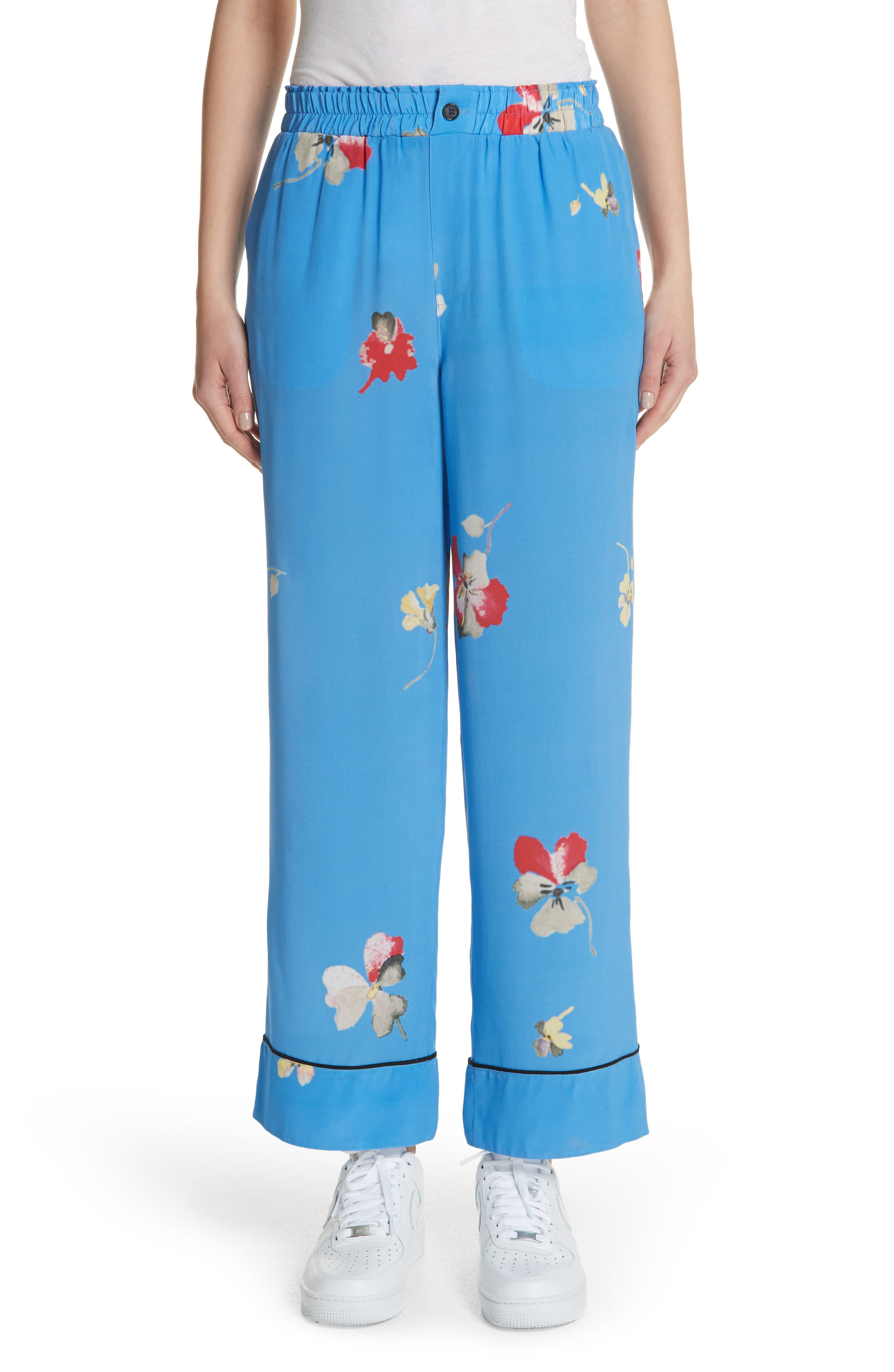 Joycedale Floral Silk Lounge Pants,                             Main thumbnail 1, color,                             400