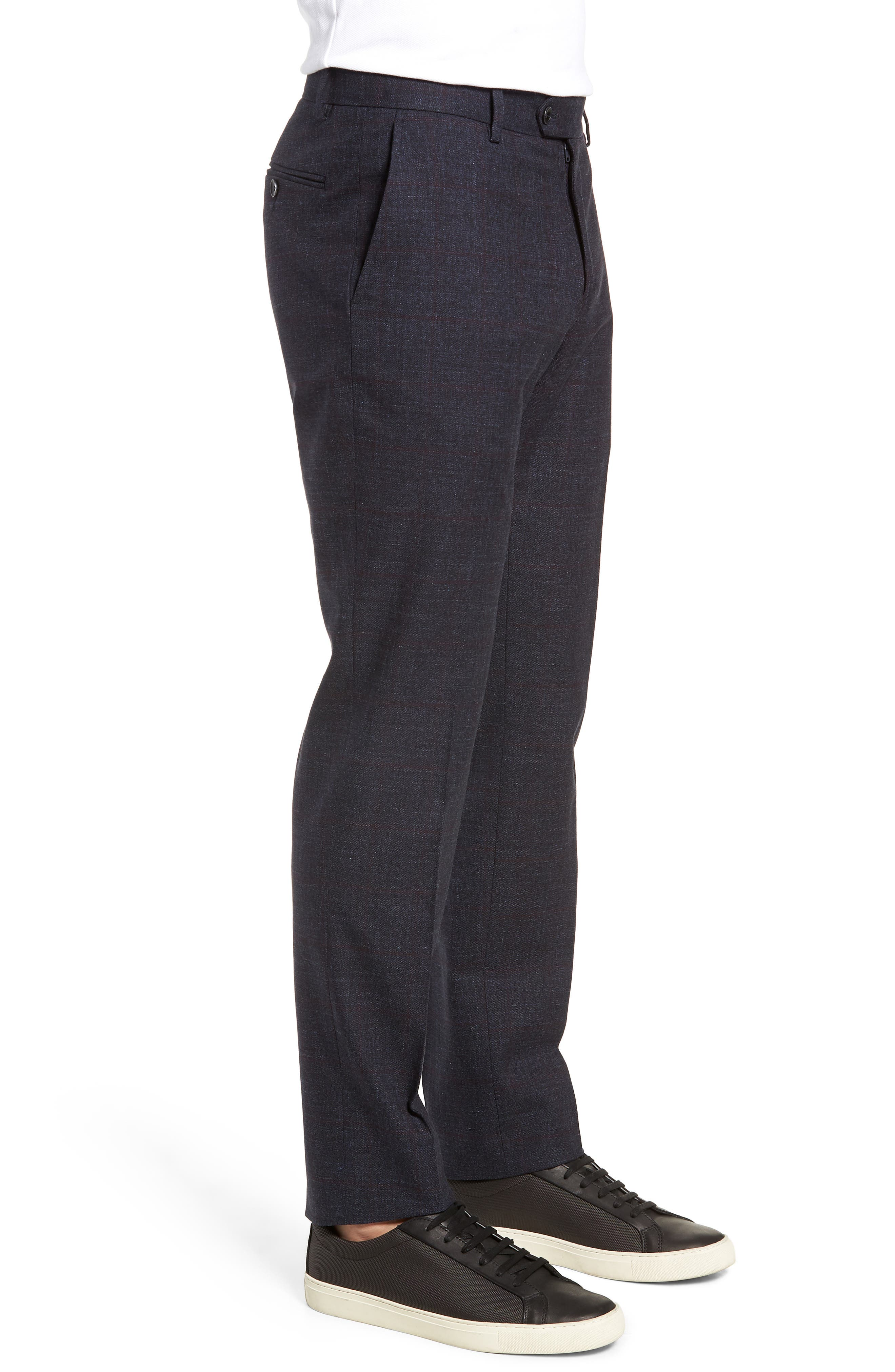 Flat Front Windowpane Stretch Cotton Trousers,                             Alternate thumbnail 3, color,                             NAVY