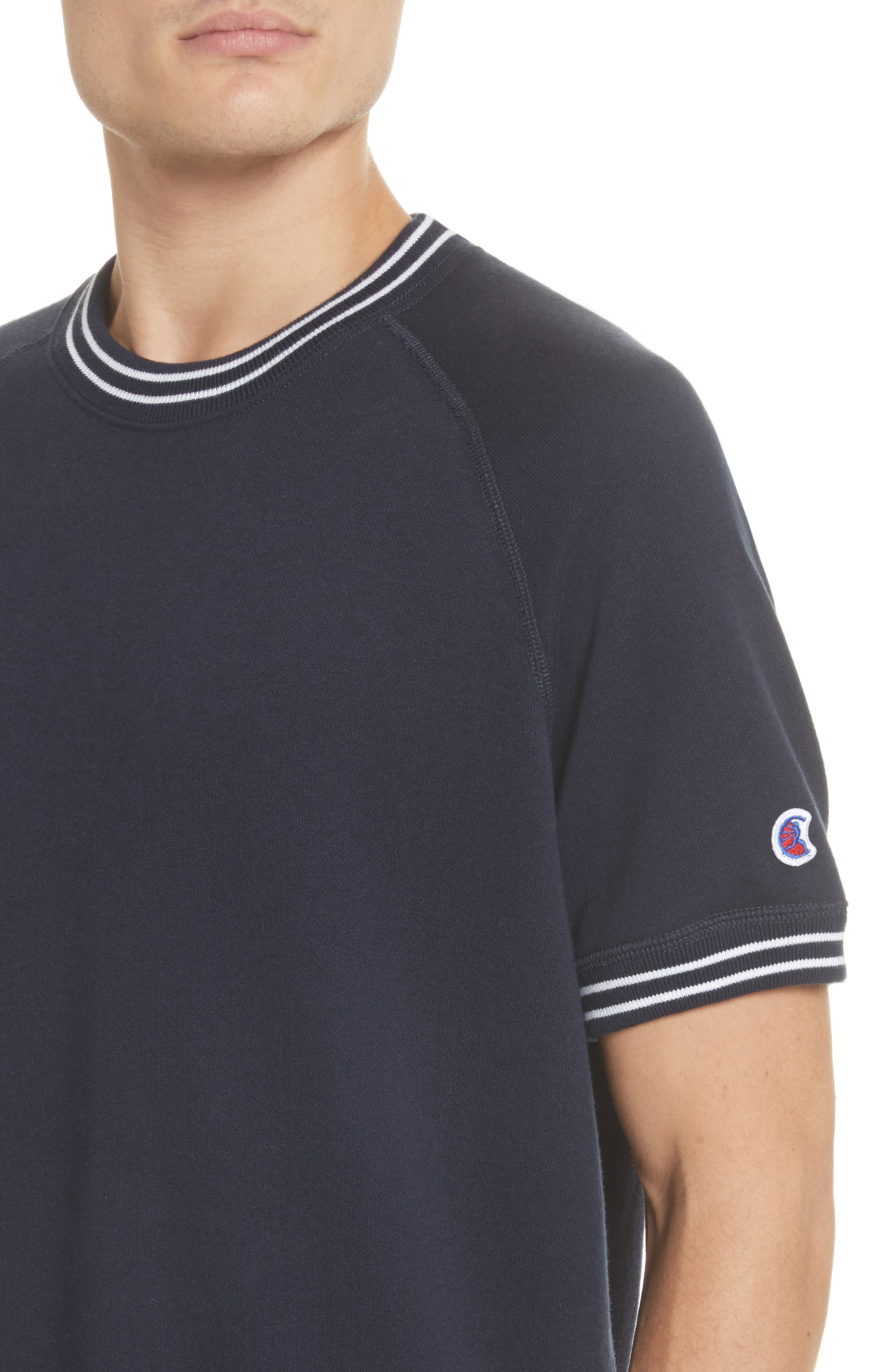 + Champion Stripe Rib Short Sleeve Sweatshirt,                             Alternate thumbnail 4, color,                             410