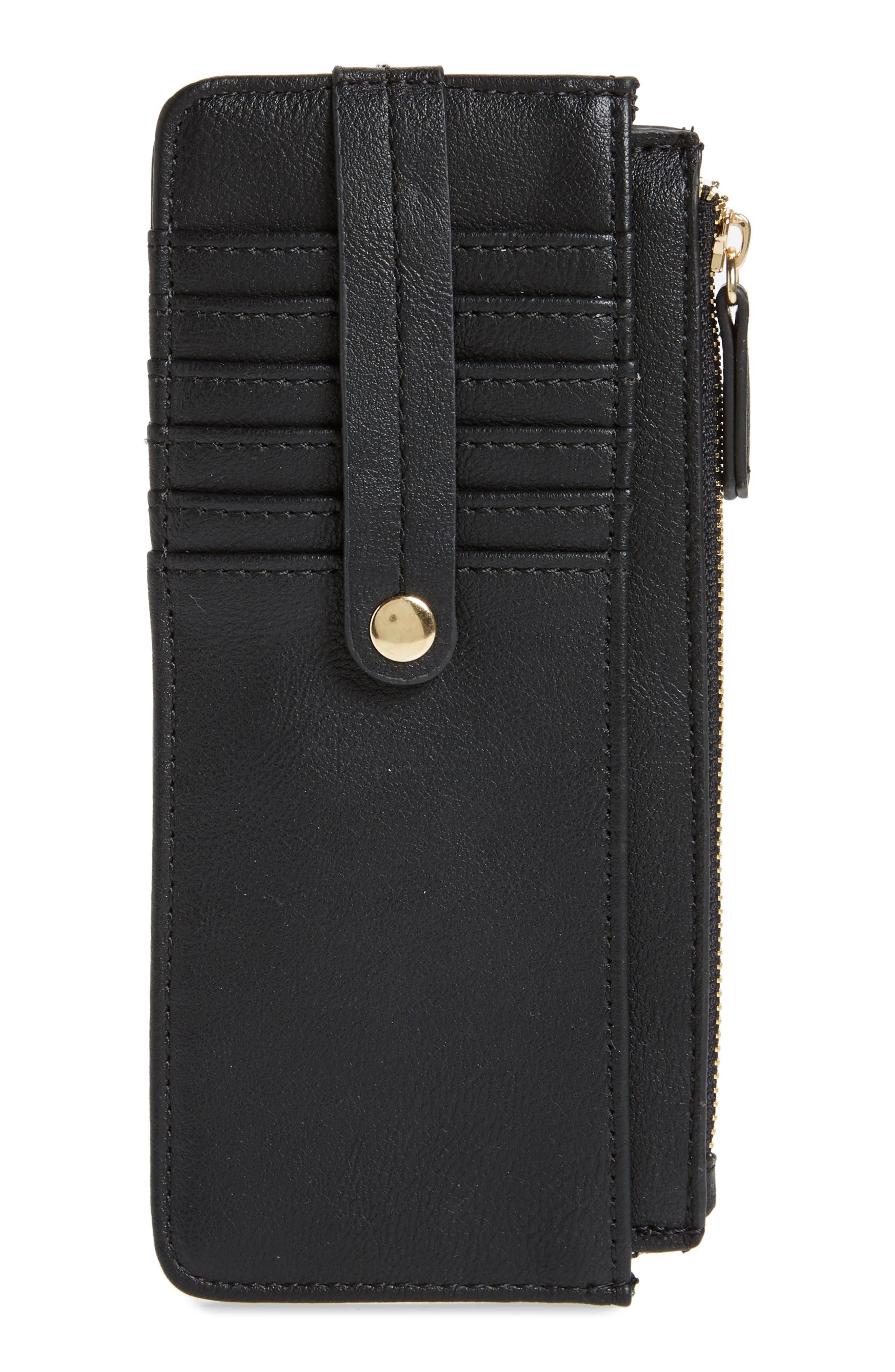 TZ Faux Leather Card Case,                             Main thumbnail 1, color,                             BLACK