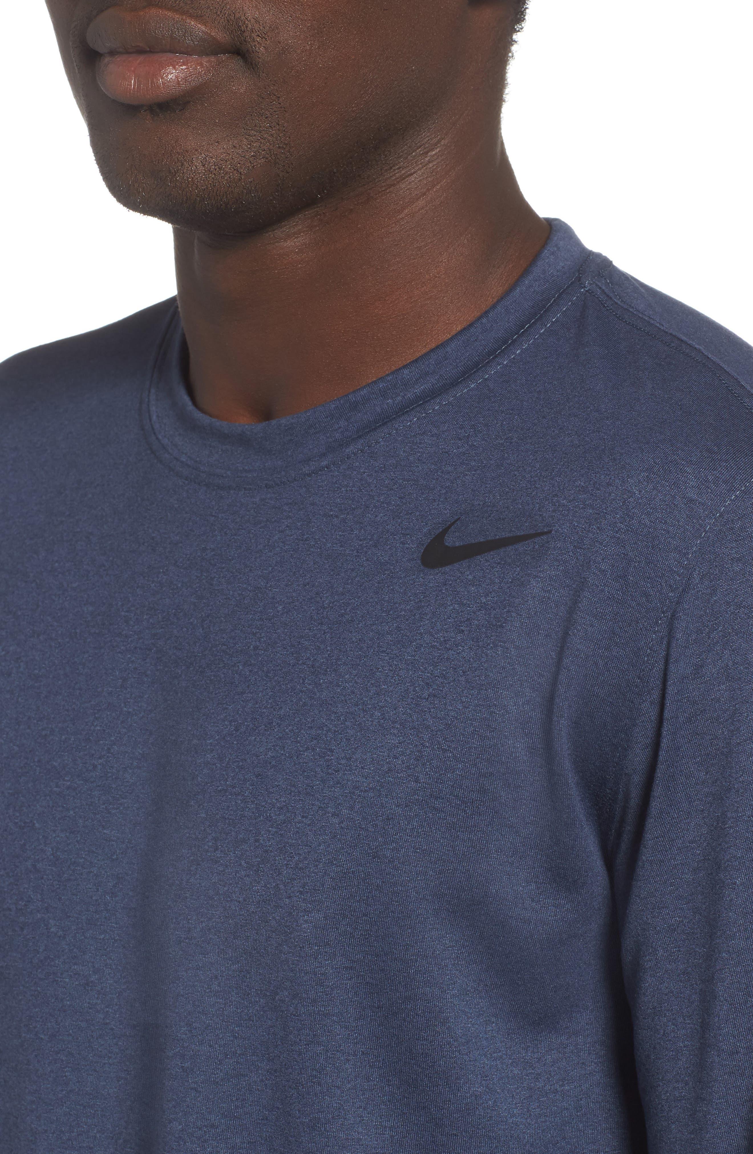 'Legend 2.0' Long Sleeve Dri-FIT Training T-Shirt,                             Alternate thumbnail 4, color,                             THUNDER BLUE/ BLACK