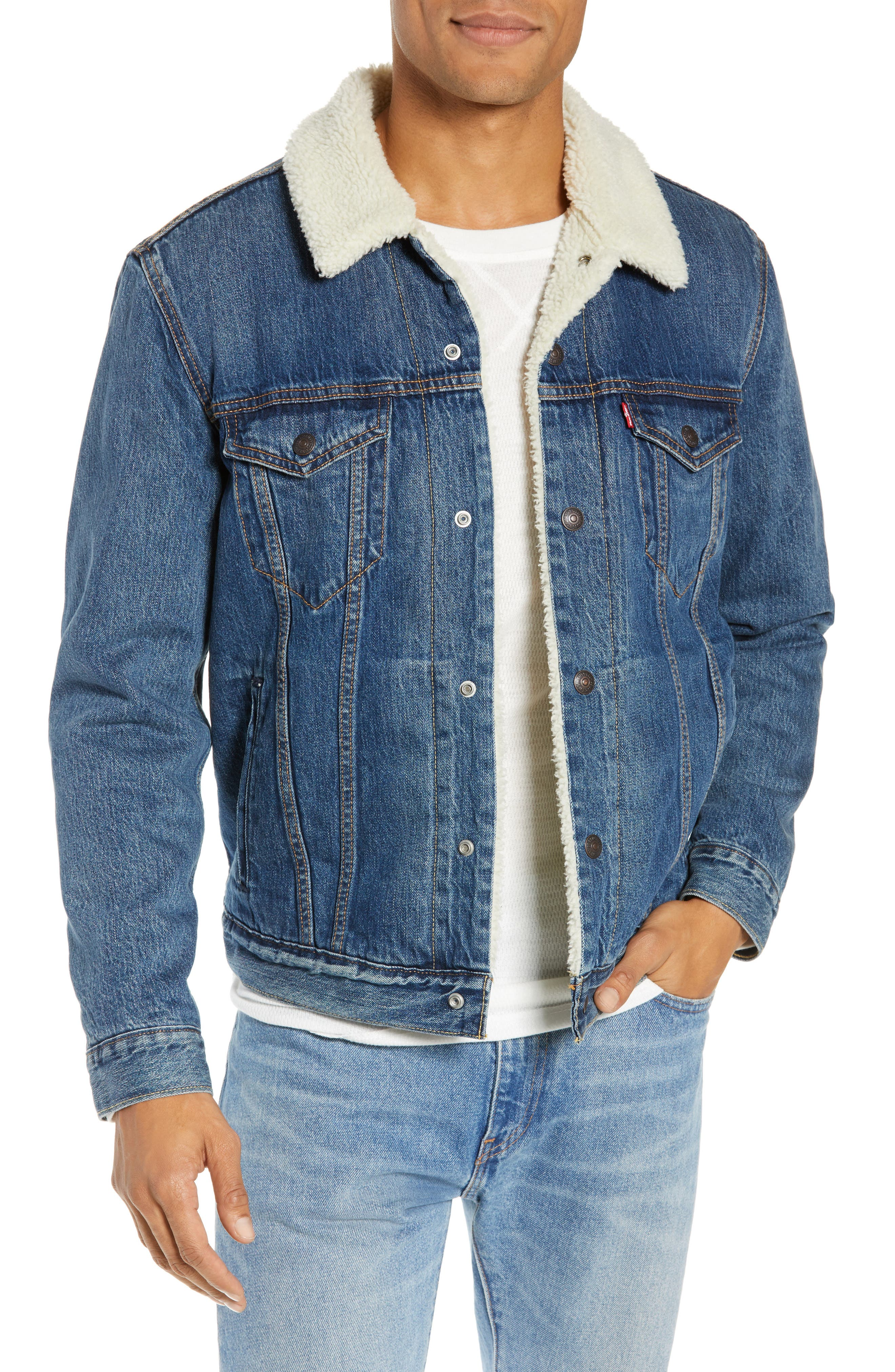 Faux Shearling Trim Denim Trucker Jacket,                             Main thumbnail 1, color,                             MAYS