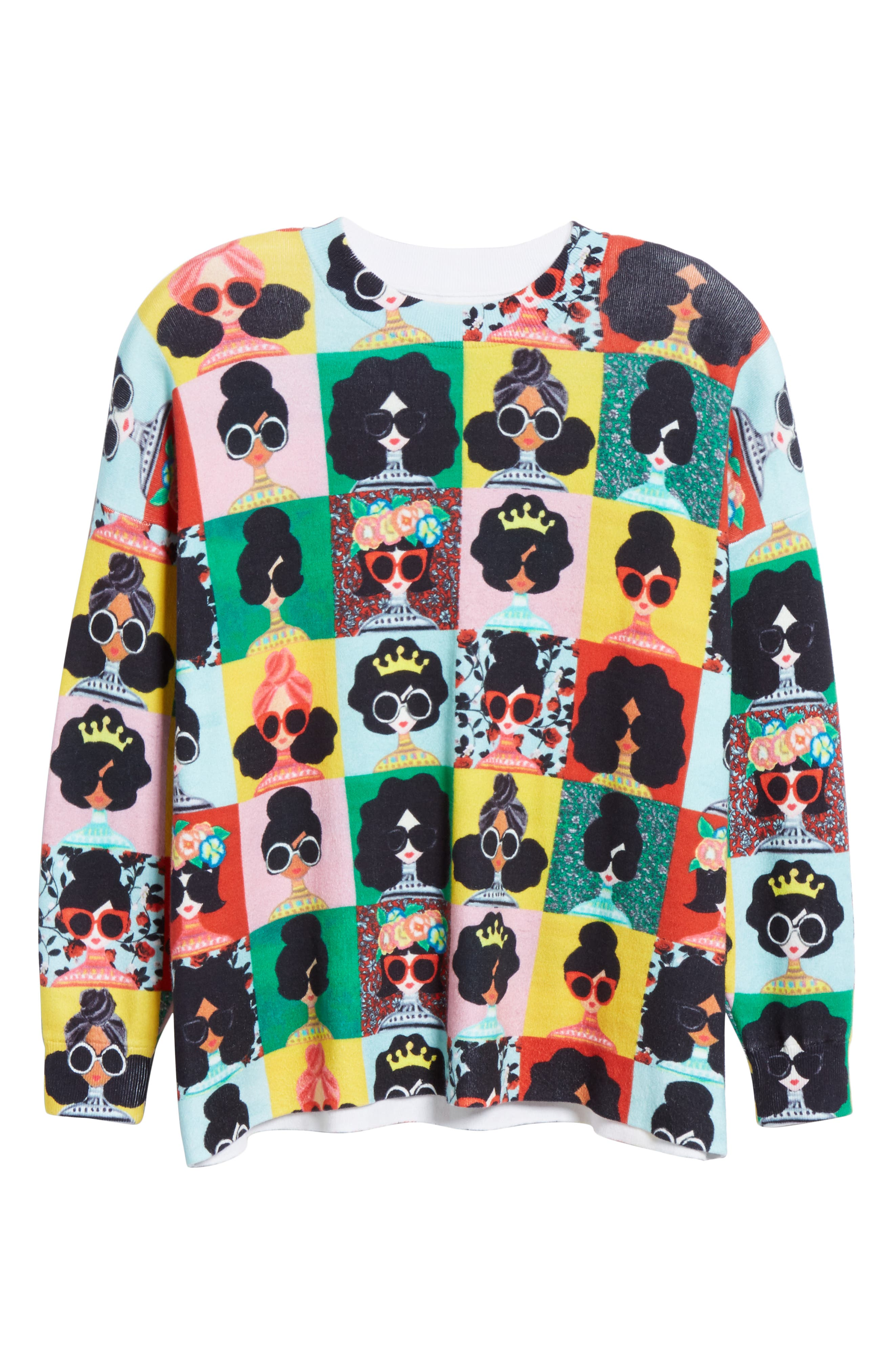 ALICE + OLIVIA,                             Print Pullover,                             Alternate thumbnail 6, color,                             MULTI