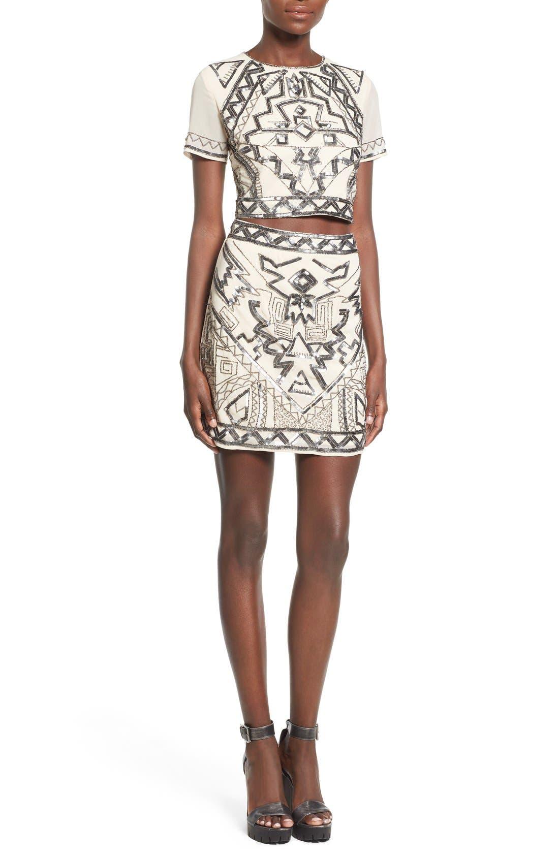 Embellished Miniskirt,                             Alternate thumbnail 5, color,                             270