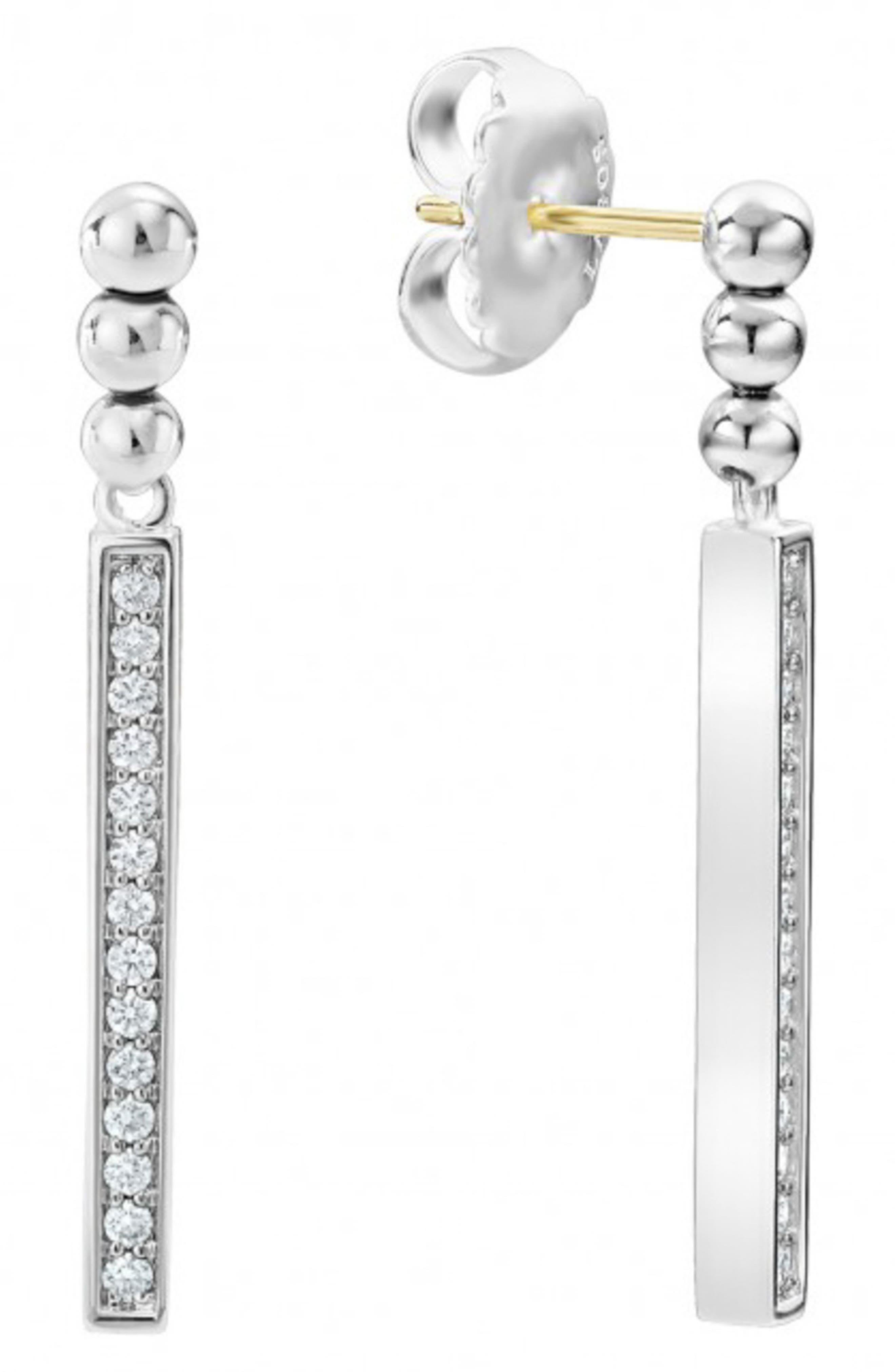 Caviar Spark Diamond Drop Earrings,                             Alternate thumbnail 4, color,                             SILVER/ DIAMOND