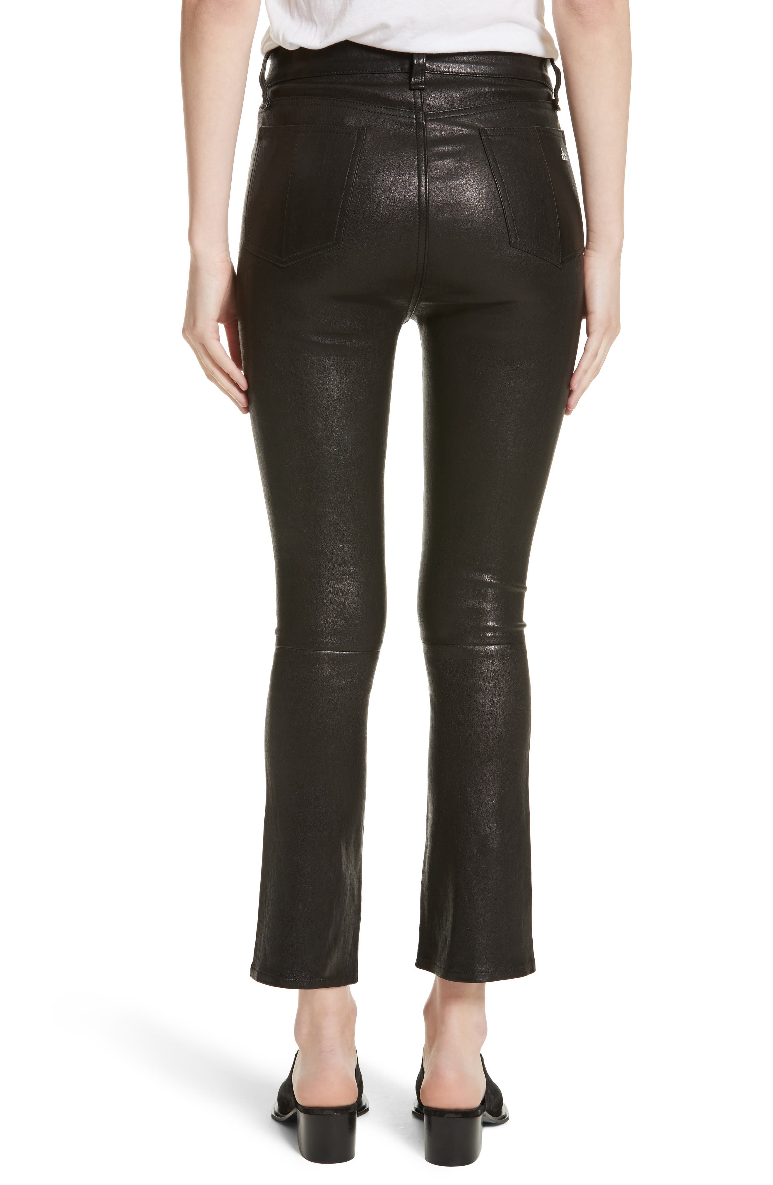Hana Crop Flare Leather Pants,                             Alternate thumbnail 2, color,                             003