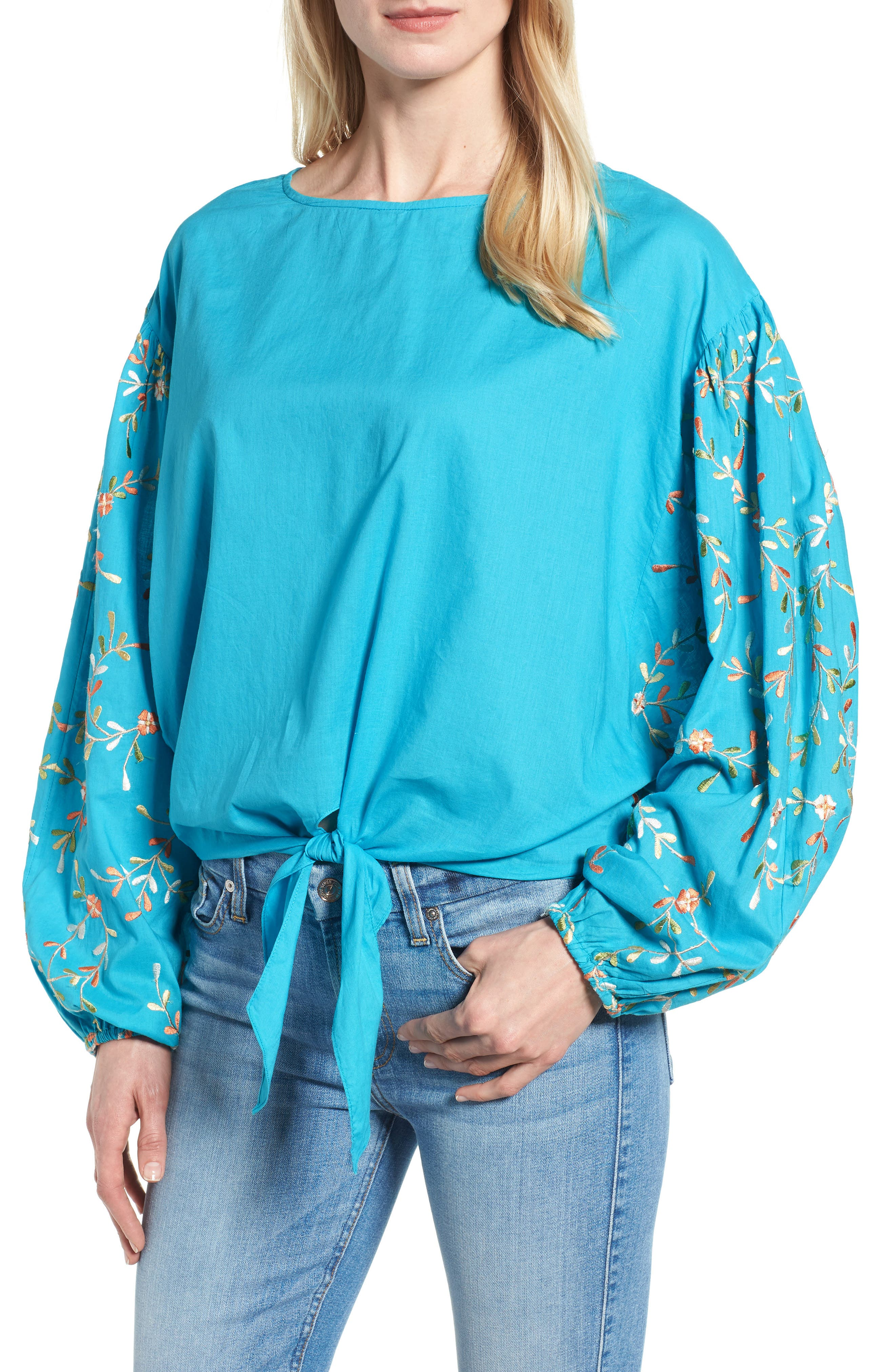 Coline Front Tie Embroidered Sleeve Blouse,                         Main,                         color, 440