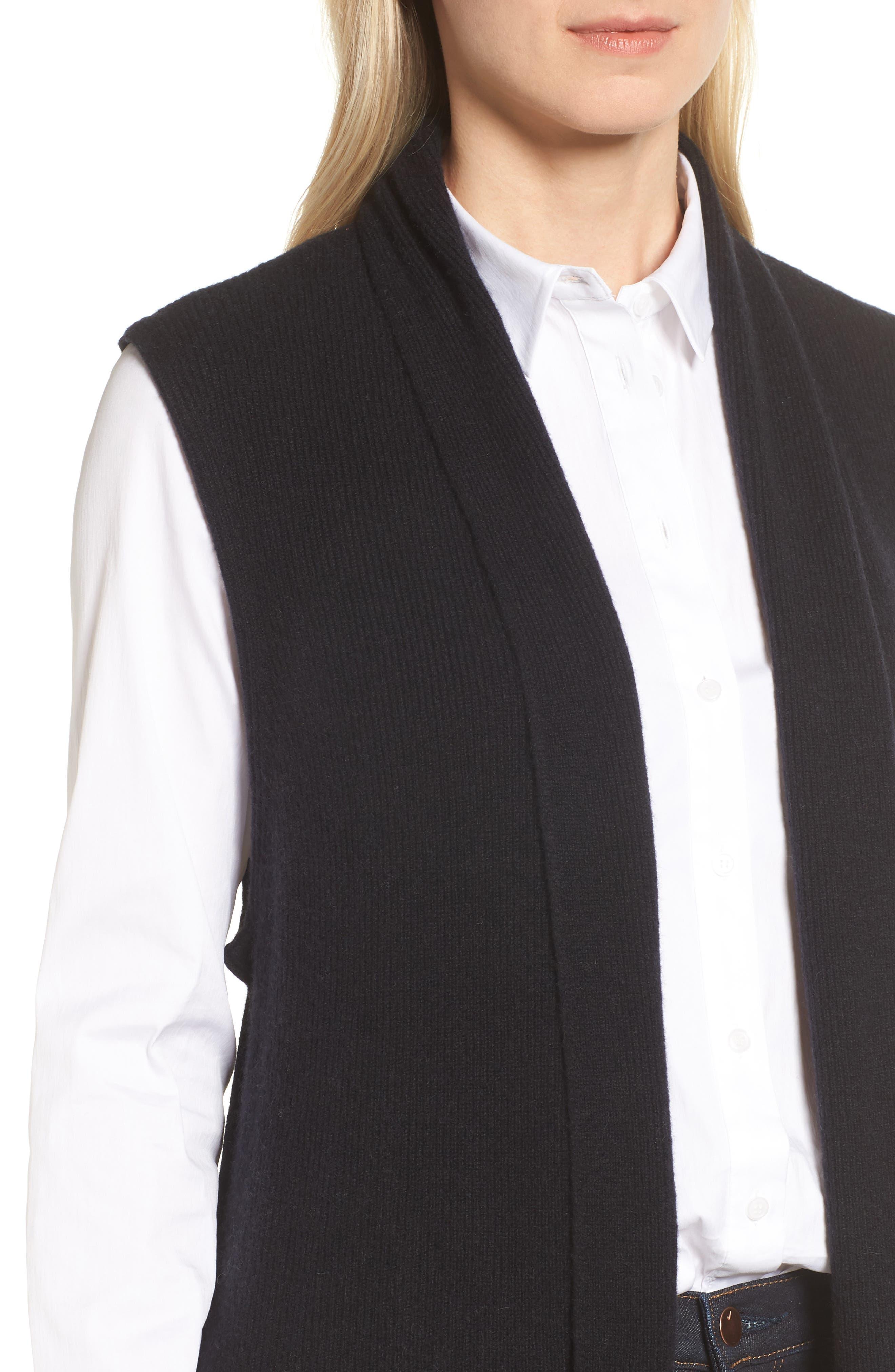 Ribbed Cashmere Vest,                             Alternate thumbnail 4, color,                             001